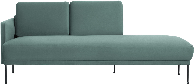 Fluwelen chaise longue Fluente, Bekleding: fluweel (hoogwaardig poly, Frame: massief grenenhout, Poten: gepoedercoat metaal, Fluweel lichtgroen, B 202 x D 85 cm
