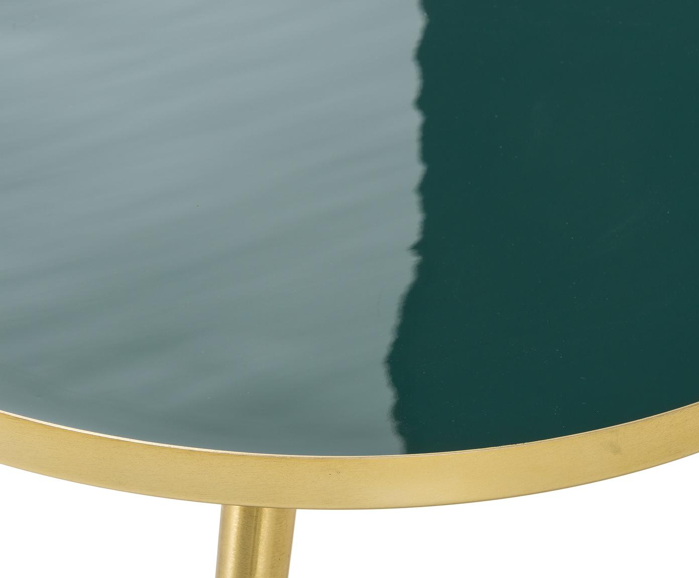 Stolik kawowy Amalia, Blat: ciemnyzielony Nogi stolika: odcienie złotego, Ø 50 x W 42 cm
