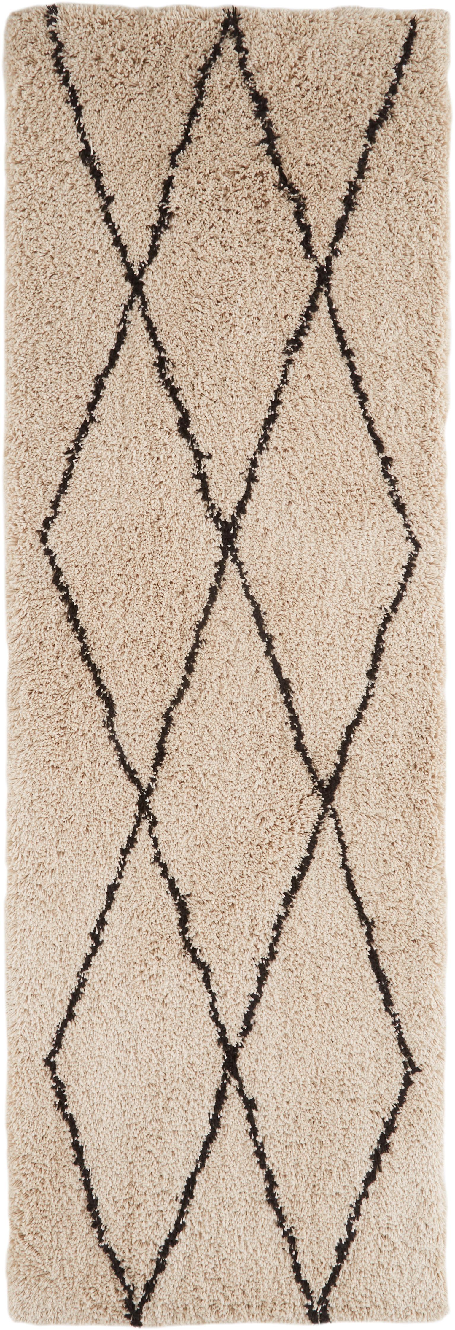 Alfombra de pelo largo Nouria, Parte superior: 100%poliéster, Reverso: 100%algodón, Beige, negro, An 80 x L 250 cm