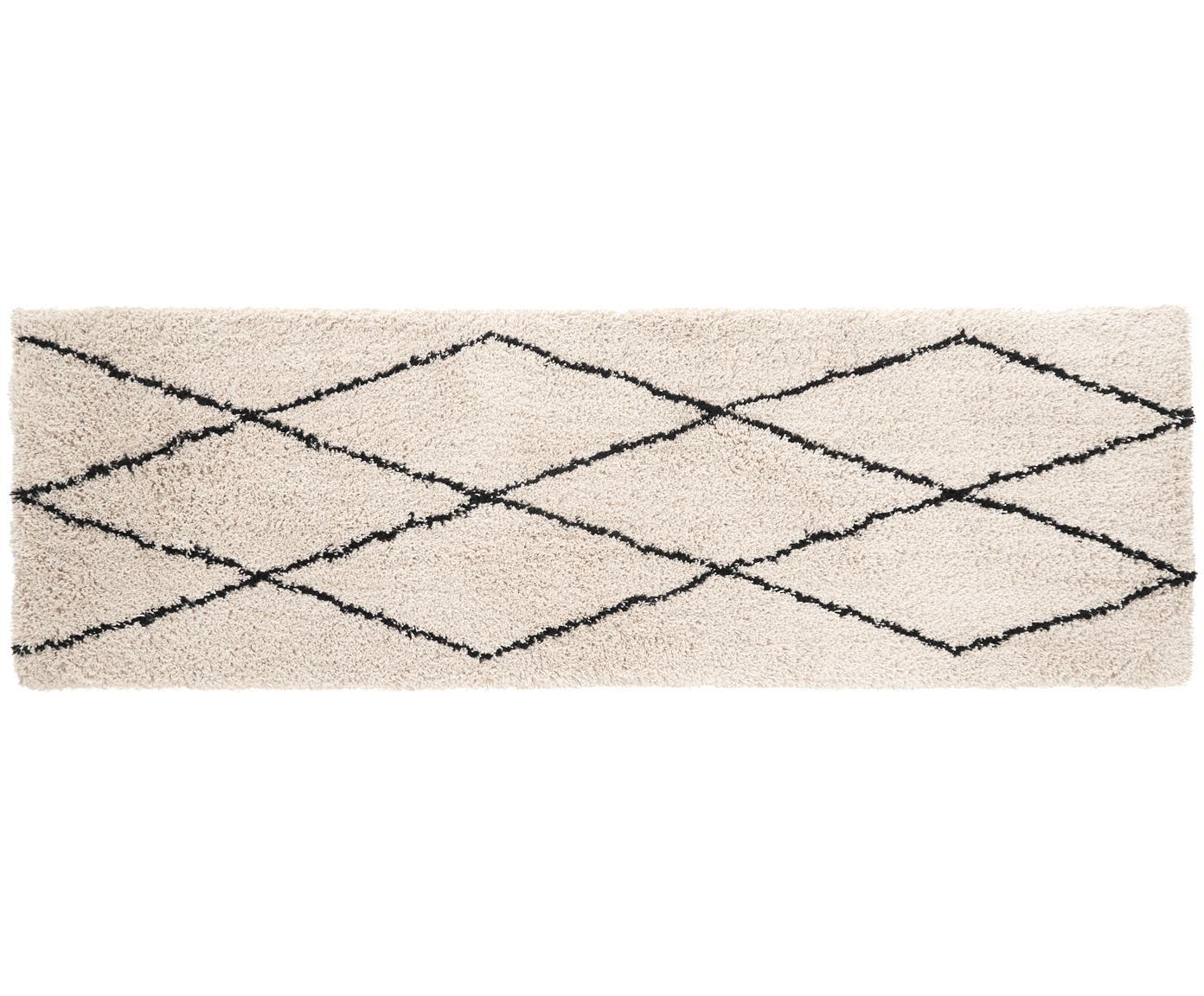 Alfombra tejida a mano Nouria, Parte superior: 100%poliéster, Reverso: 100%algodón, Beige, negro, An 80 x L 250 cm