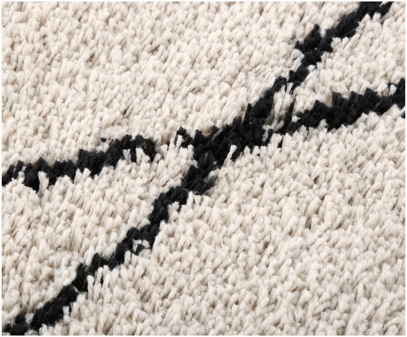Passatoia tessuta a mano Nouria, Vello: 100% poliestere, Retro: 100% cotone, Beige, nero, Larg. 80 x Lung. 250 cm