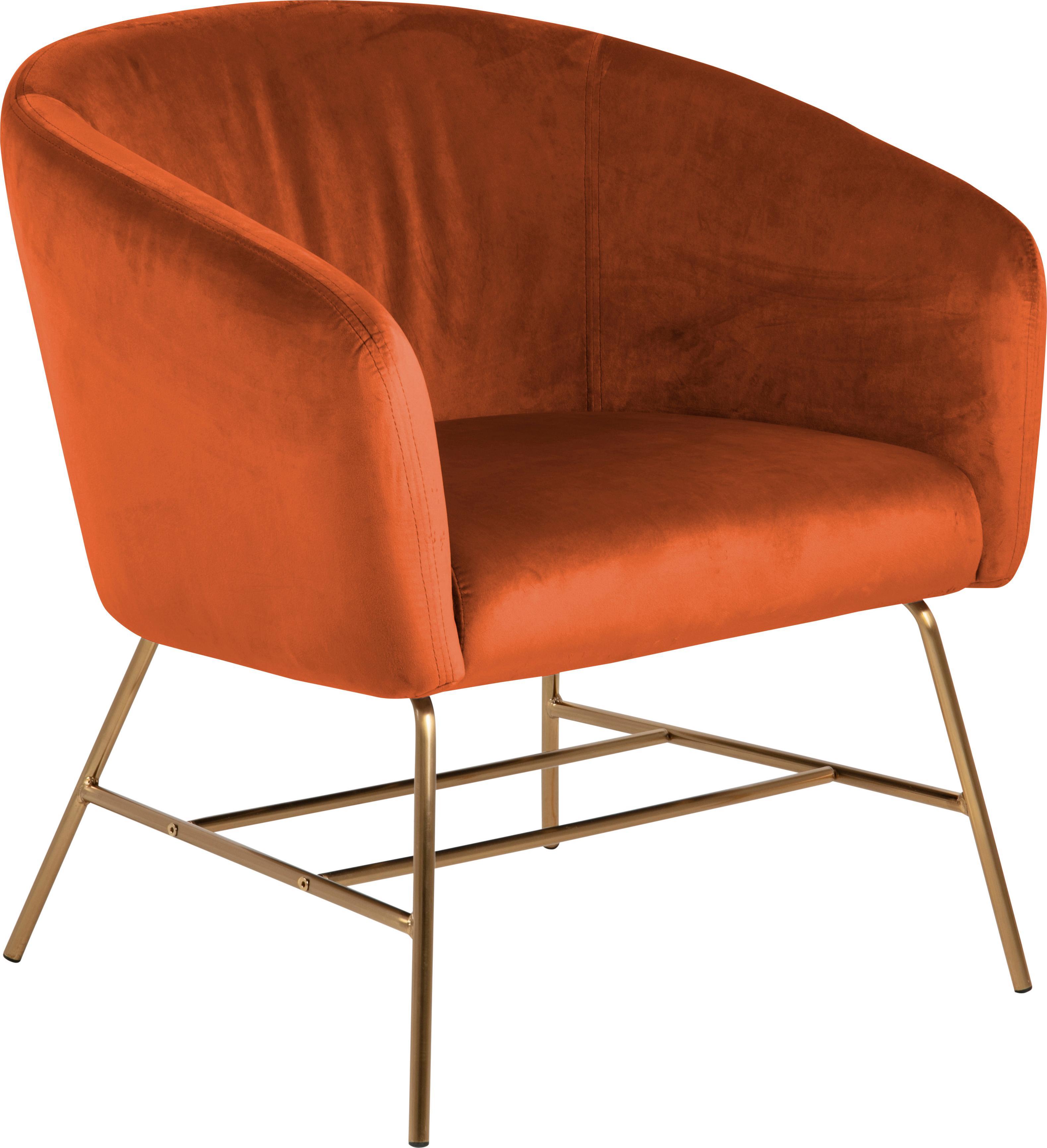 Moderne fluwelen fauteuil Ramsey in koperkleurig, Bekleding: polyester fluweel, Poten: gelakt metaal, Fluweel koperkleurig, B 72 x D 67 cm