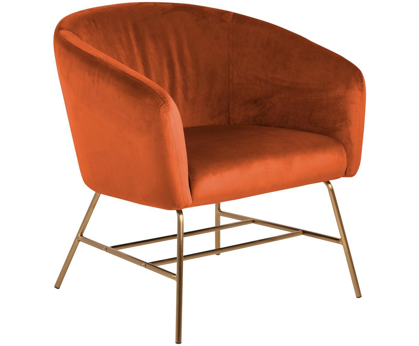 Moderne fluwelen fauteuil Ramsey in koperkleurig, Bekleding: polyester fluweel, Poten: gelakt metaal, Koperkleurig, B 72 x D 67 cm