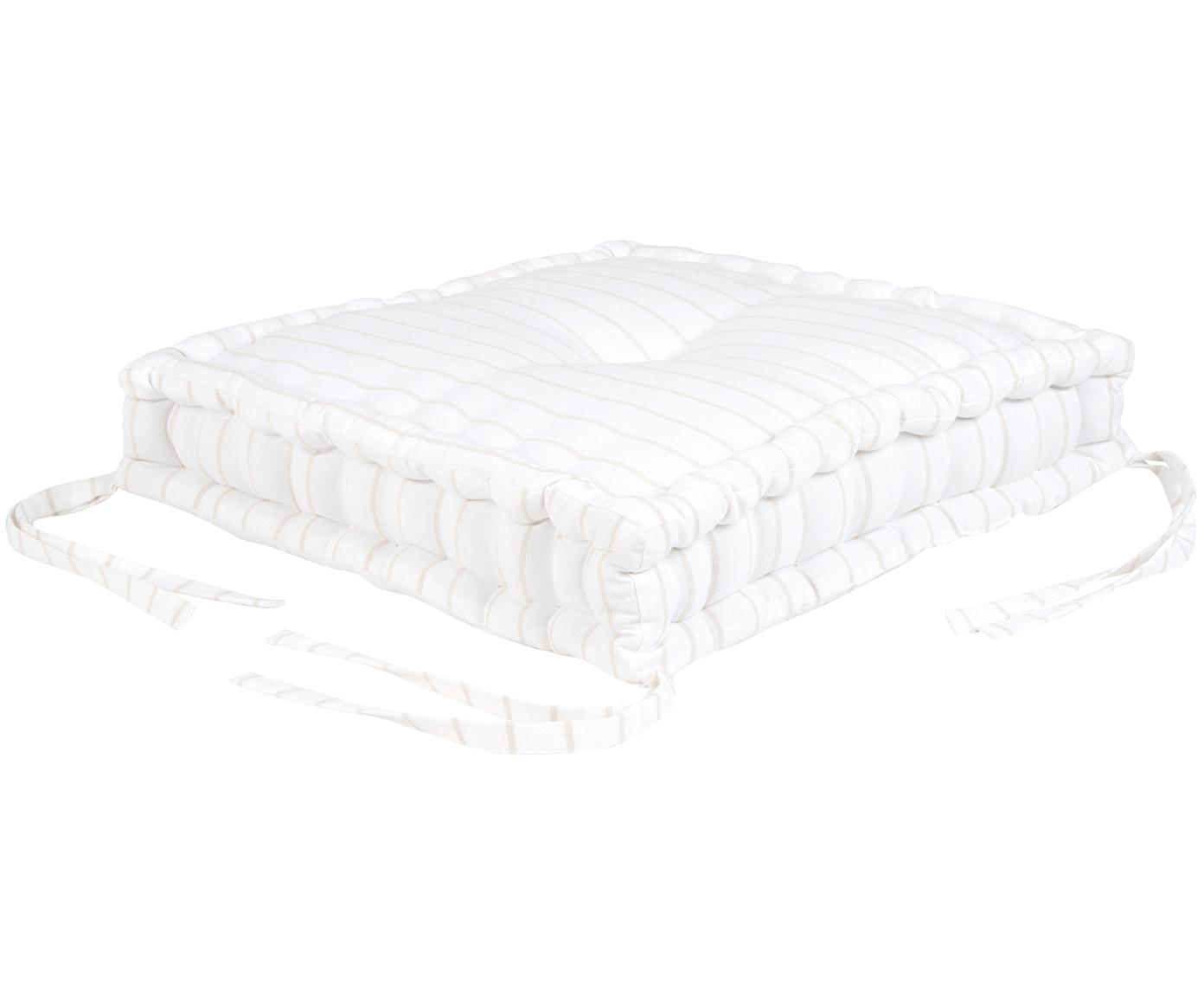 Cuscino sedia a righe Ludmilla, Beige, bianco crema, Larg. 45 x Lung. 45 cm