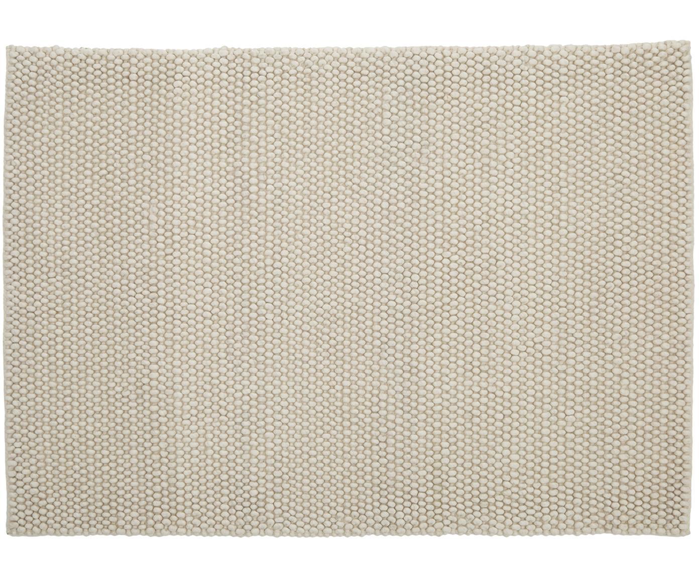 Handgestikte wollen vloerkleed My Loft, Bovenzijde: 60% wol, 40% viscose, Onderzijde: katoen, Ivoorkleurig, B 80 x L 150 cm (maat XS)