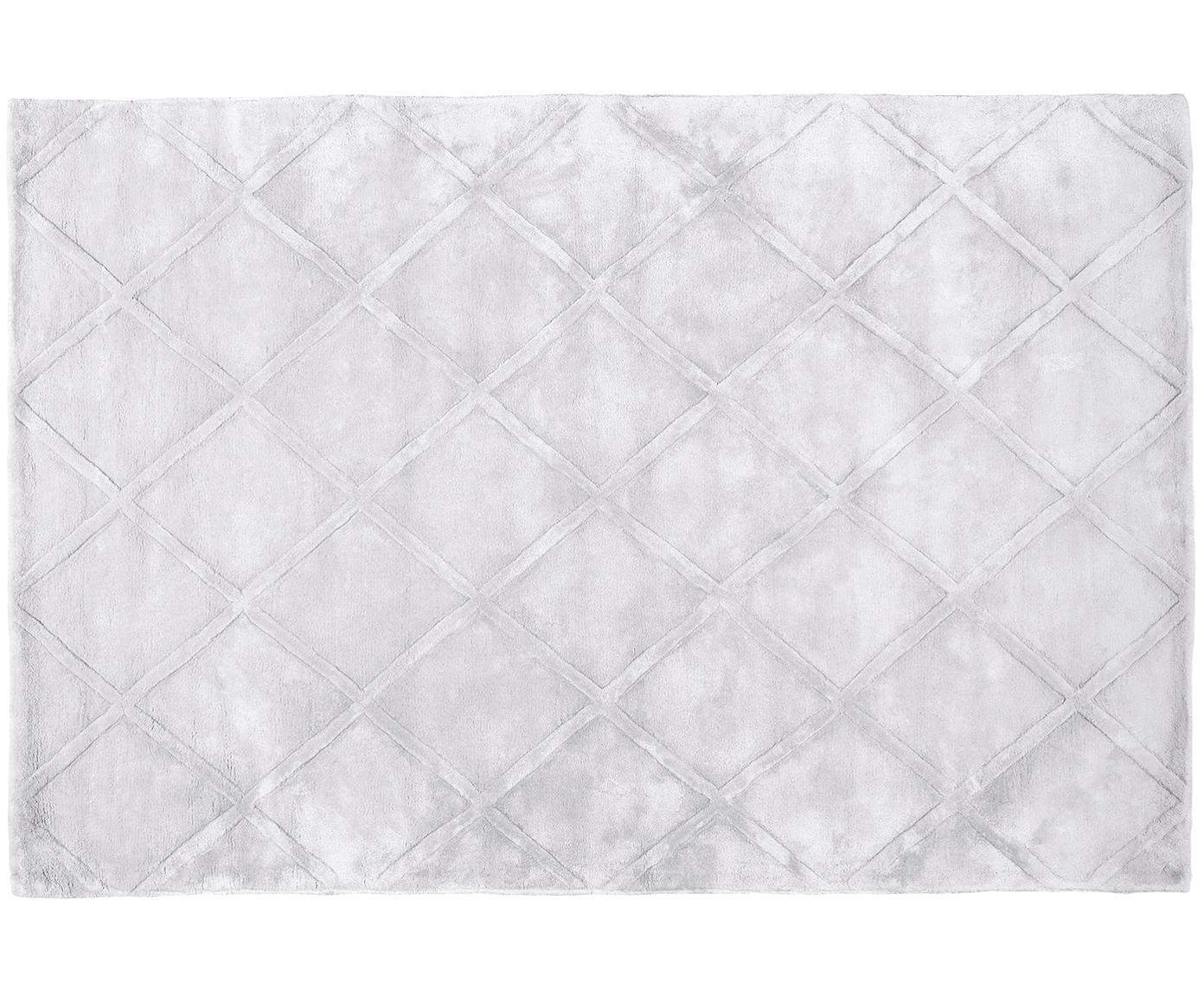 Alfombra artesanal de viscosa Madeleine, Parte superior: 100%viscosa, Reverso: 100%algodón, Gris plateado claro, An 120 x L 180 cm (Tamaño S)