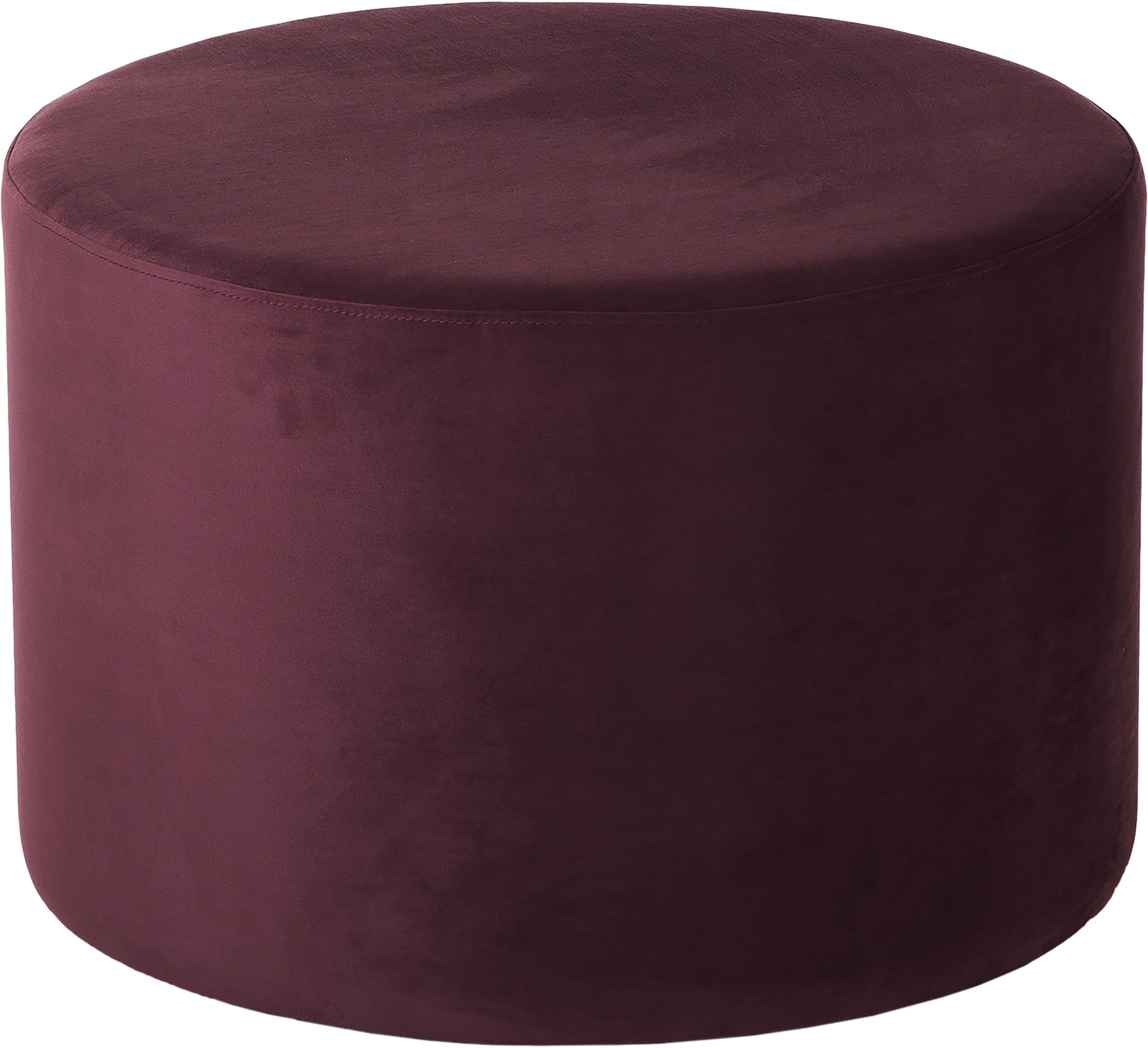 Samt-Hocker Daisy, Bezug: Samt (Polyester) 15.000 S, Rahmen: Mitteldichte Holzfaserpla, Samt Dunkelrot, Ø 54 x H 40 cm
