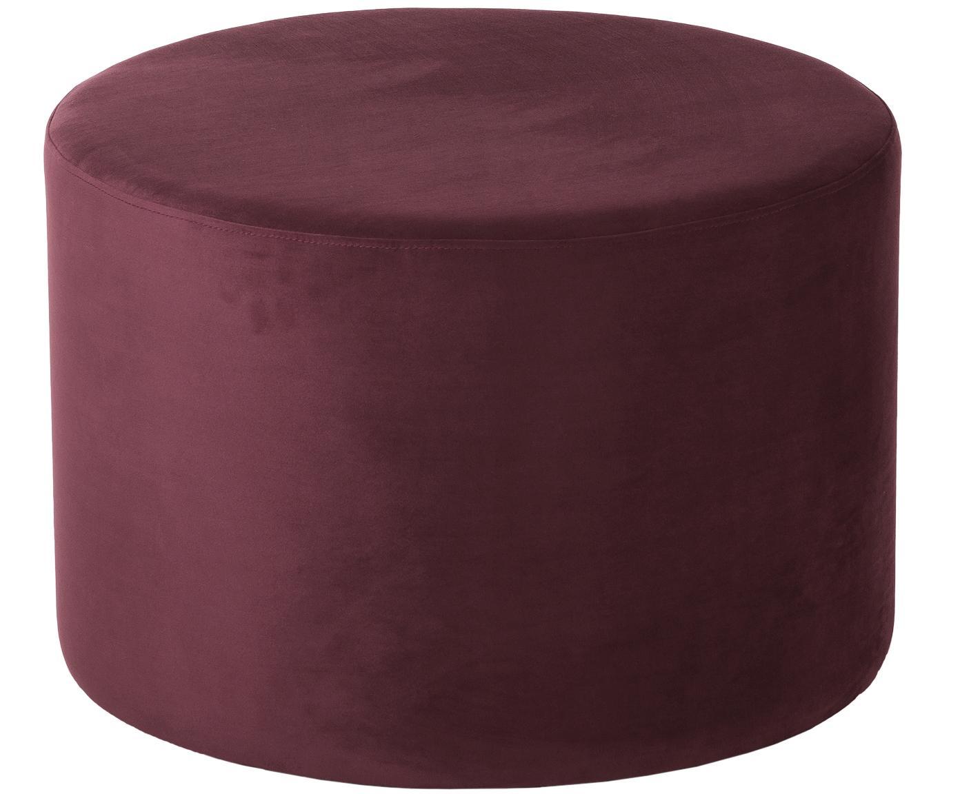 Pouf in velluto Daisy, Rivestimento: velluto (poliestere) 15.0, Struttura: pannello di fibra a media, Rosso scuro, Ø 62 x Alt. 41 cm
