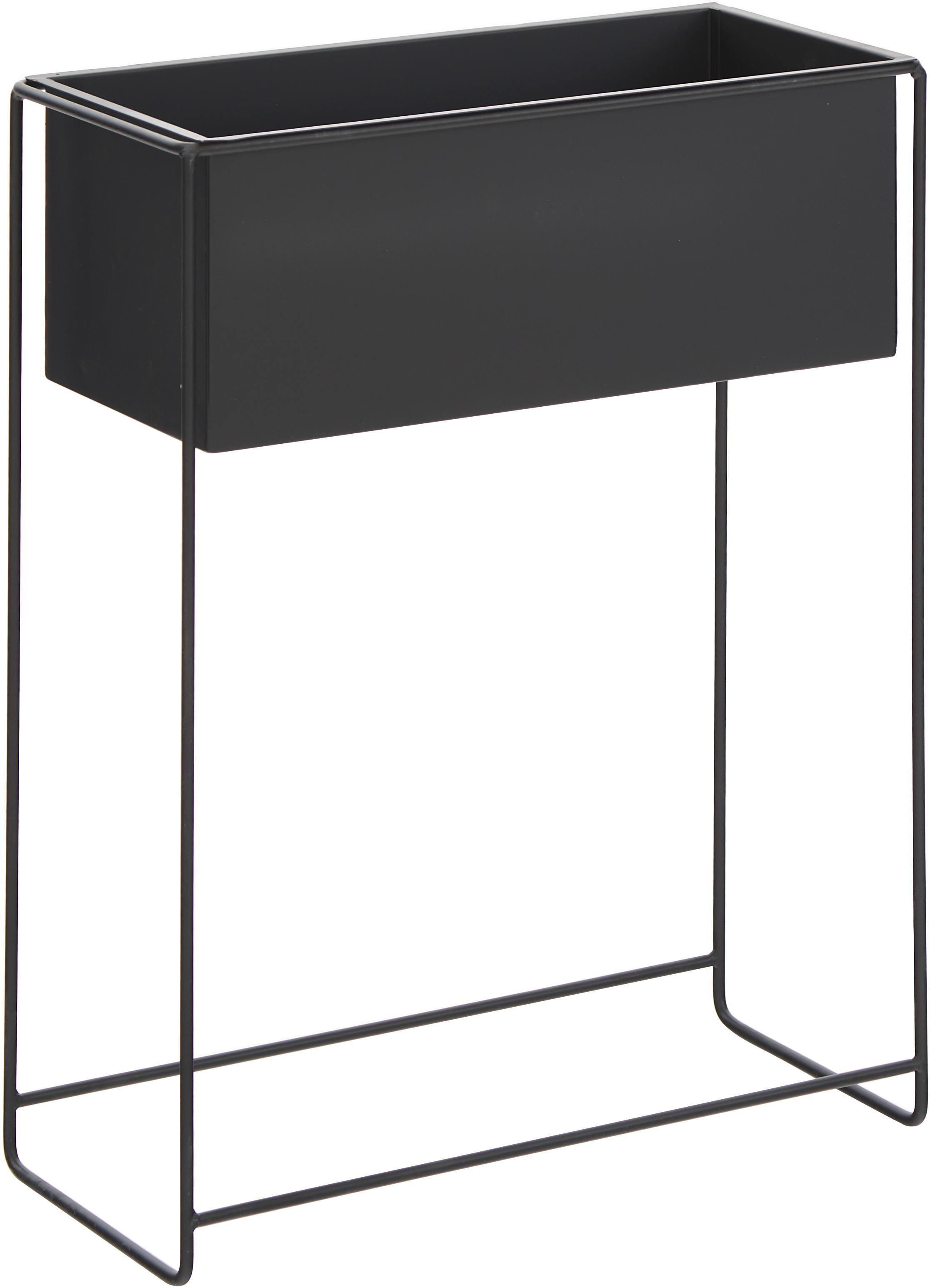 XL plantenpot Flina van metaal, Gecoat metaal, Zwart, 51 x 65 cm
