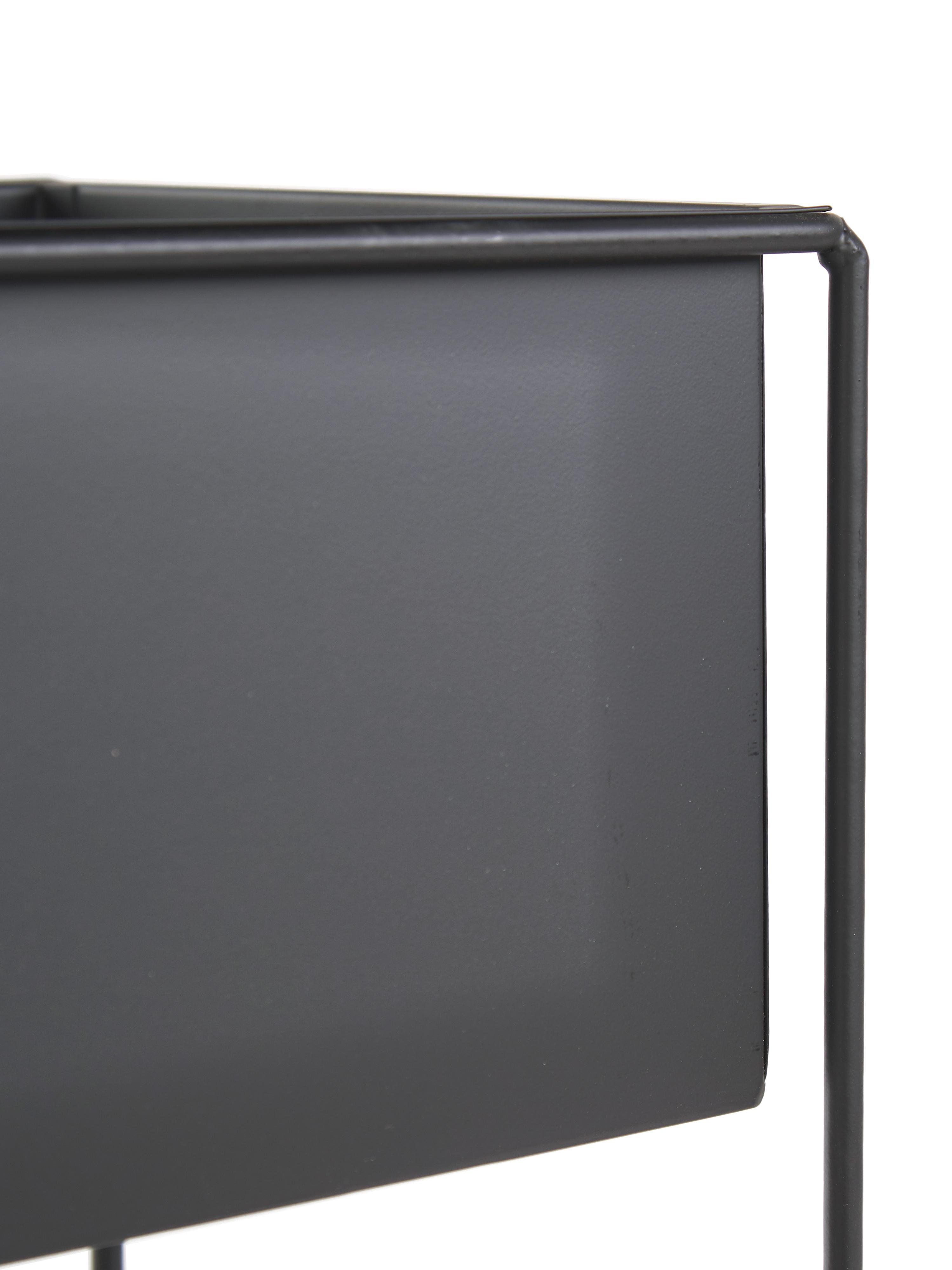 Portavaso Flina, Metallo rivestito, Nero, Larg. 51 x Alt. 65 cm