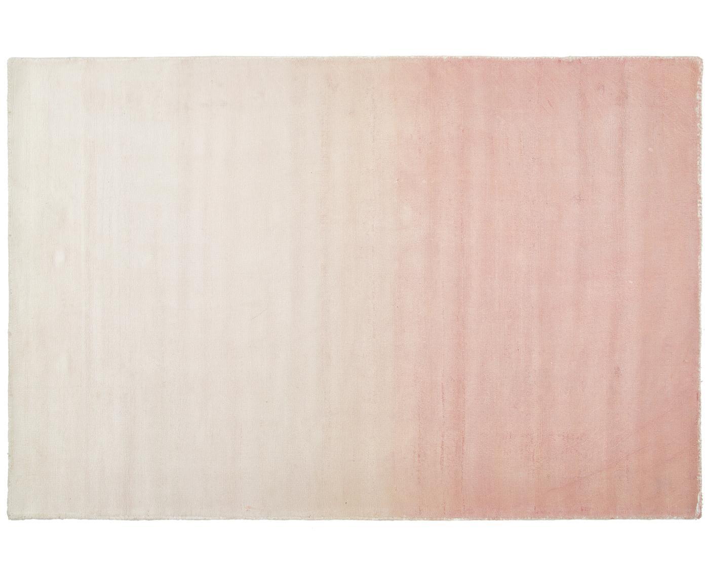 Handgeweven viscose vloerkleed Alana met kleurverloop, Viscose, Roze, beige, B 120 x L 180 cm (maat S)
