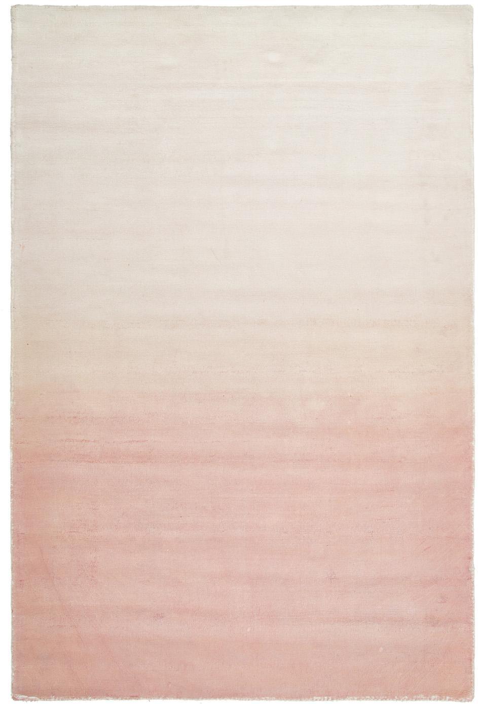 Handgeweven viscose vloerkleed Alana met kleurverloop, 100% viscose, Roze, beige, B 120 x L 180 cm (maat S)