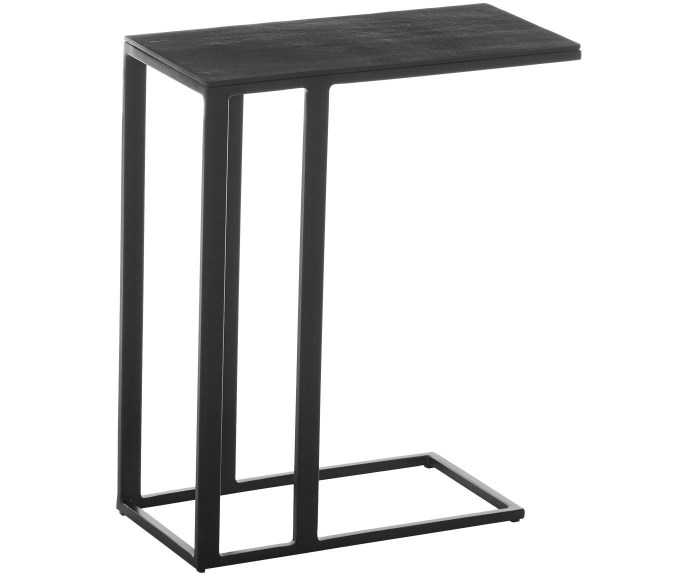 Beistelltisch Edge im Industrial Design, Tischplatte: Metall, beschichtet, Gestell: Metall, pulverbeschichtet, Tischplatte: Schwarz Gestell: Schwarz, matt, 43 x 52 cm