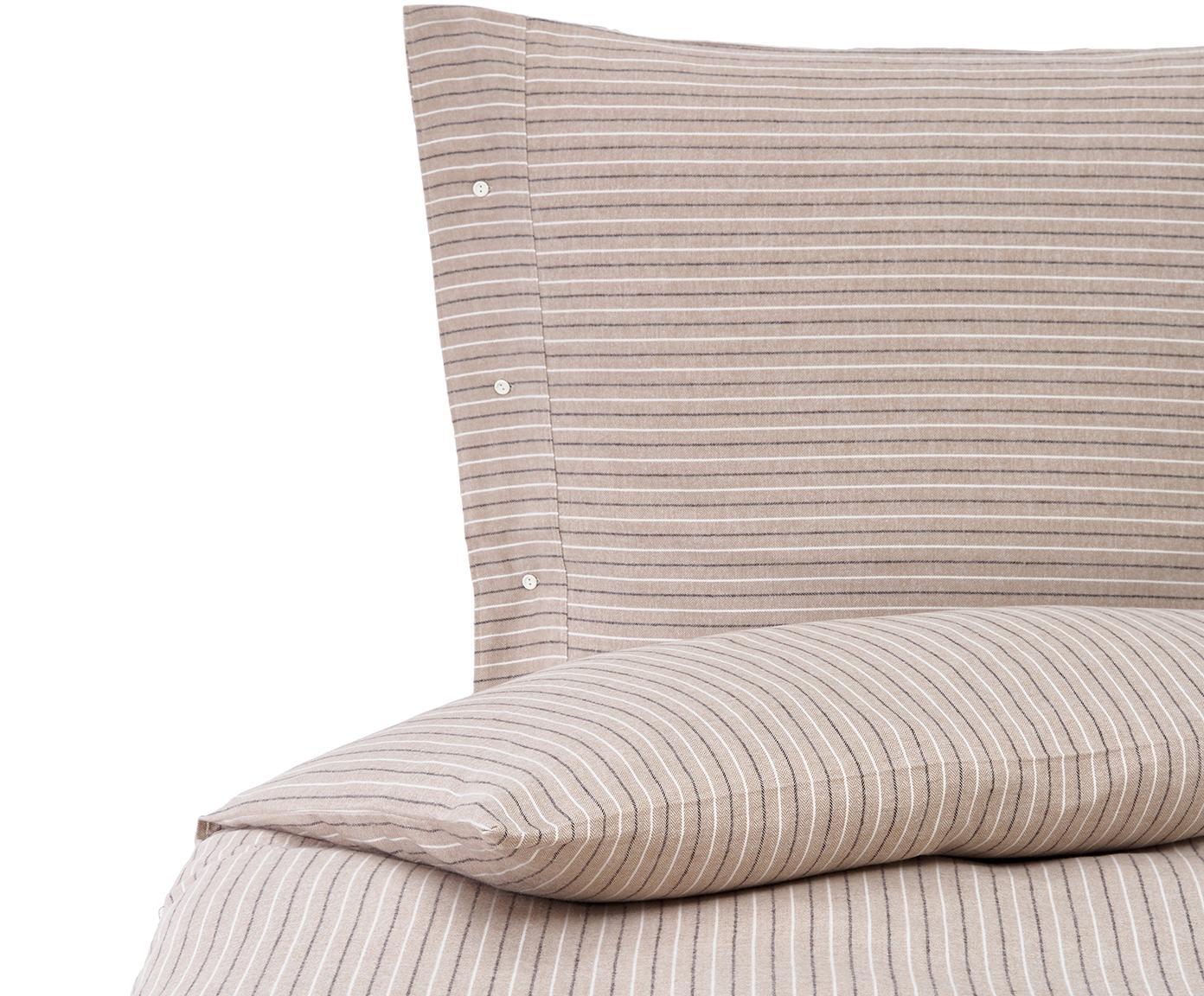 Zweifarbig gestreifte Flanell-Bettwäsche Stropal, Webart: Flanell Fadendichte 110 T, Beige, Weiß, Schwarz, 135 x 200 cm + 1 Kissen 80 x 80 cm