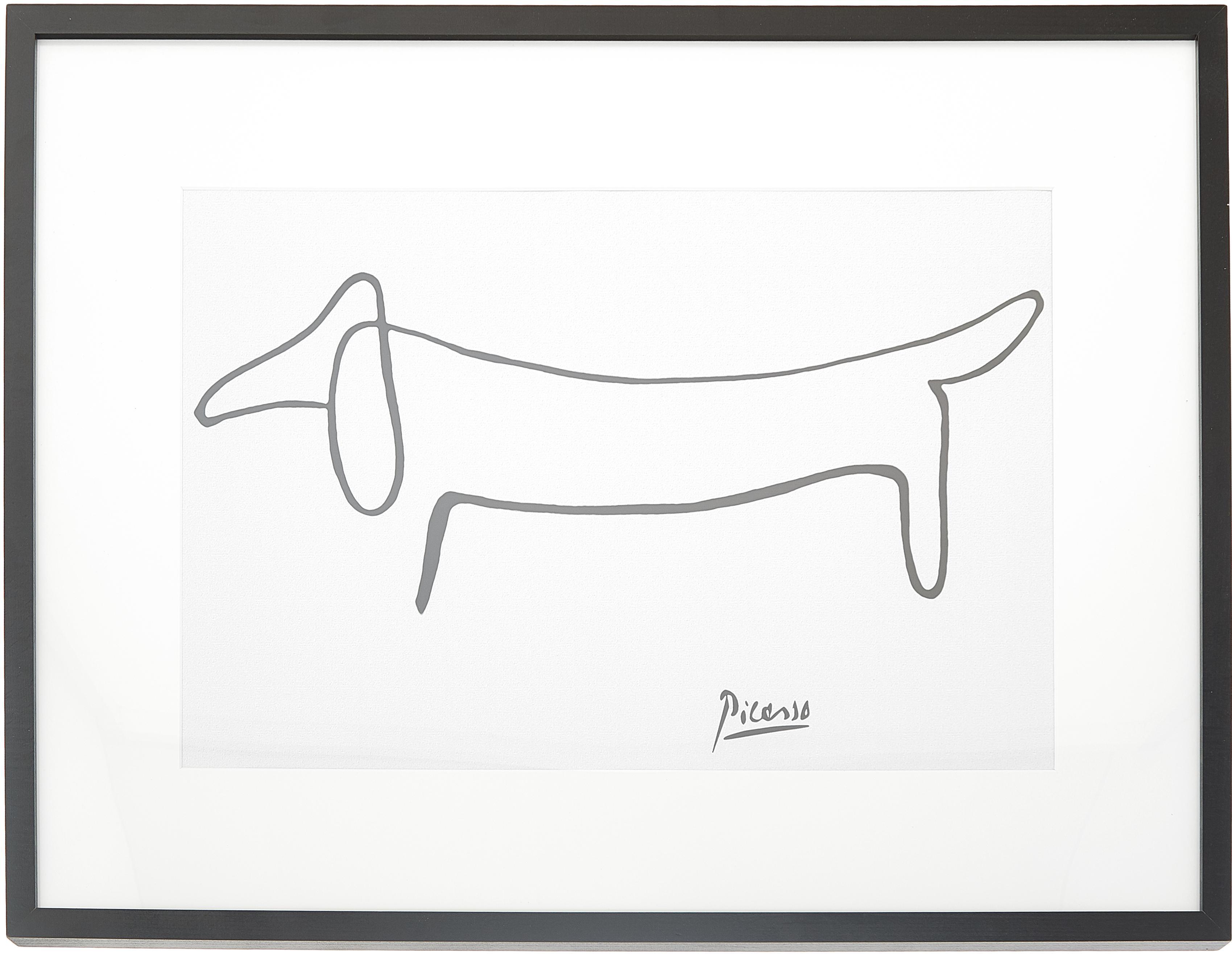 Gerahmter Digitaldruck Picasso's Dackel, Bild: Digitaldruck auf Papier, , Rahmen: Holz, lackiert, Front: Plexiglas, Weiß,Schwarz, 83 x 63 cm