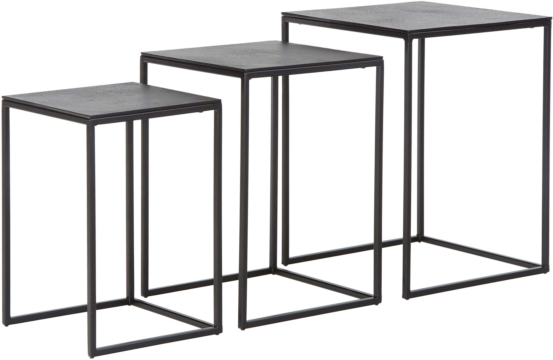 Set de mesas auxiliares de metal Dwayne, 3uds., Tablero: aluminio recubierto, Estructura: metal, pintado, Negro con efecto envejecido, Tamaños diferentes