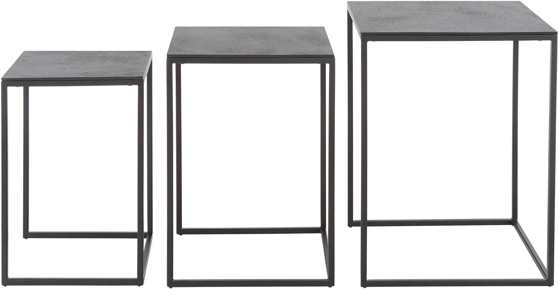 Komplet stolików pomocniczych Dwayne, 3 elem., Blat: aluminium powlekane, Stelaż: metal lakierowany, Czarny z antycznym wykończeniem, Różne rozmiary