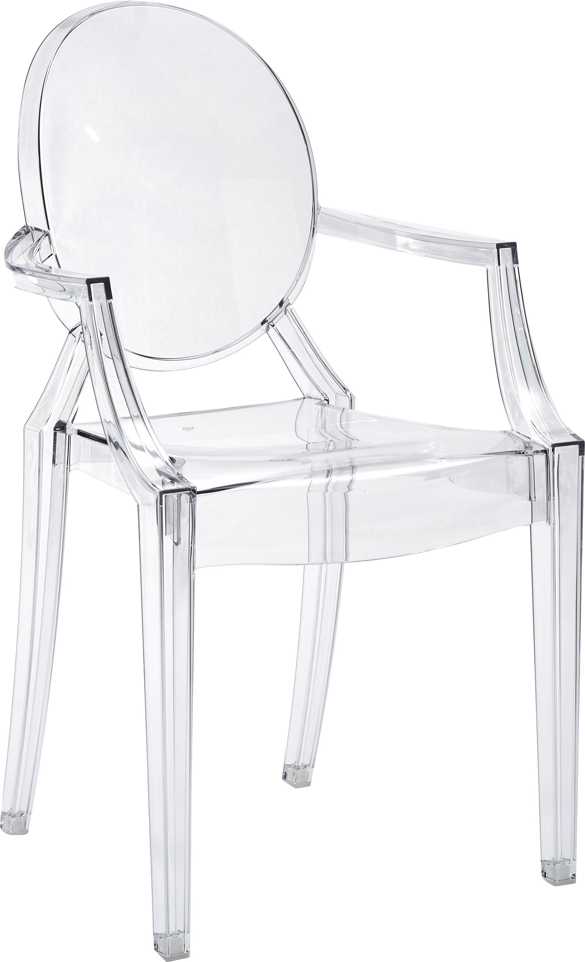 Krzesło z podłokietnikami Ghost, Poliwęglan, Transparentny, S 54 x W 94 cm