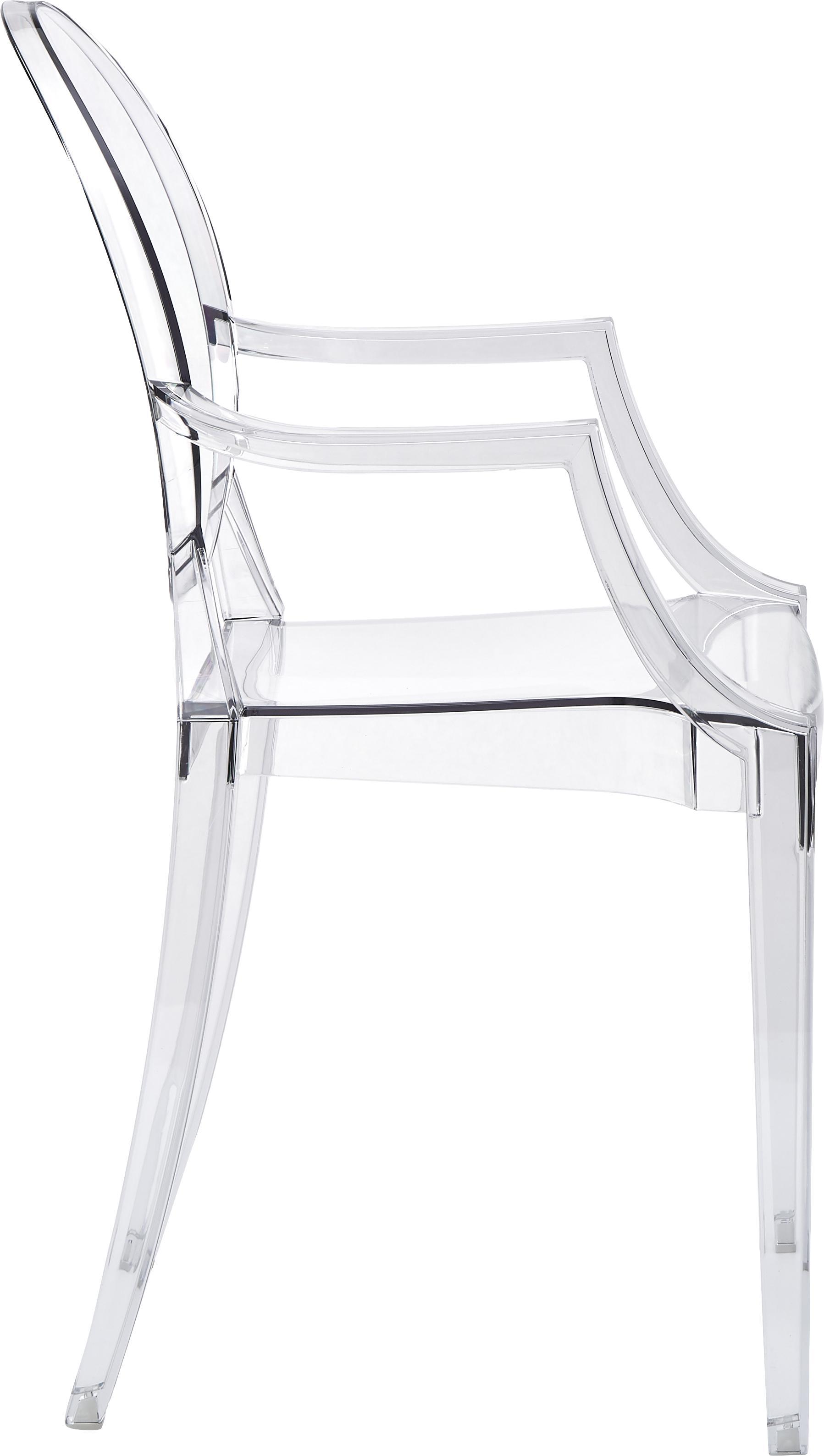 Transparenter Armlehnstuhl Ghost, Polykarbonat, Transparent, B 54 x T 55 cm