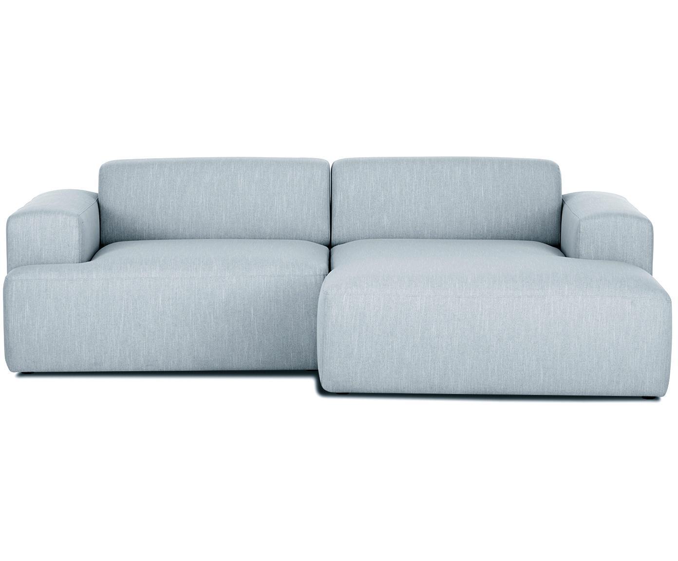 Ecksofa Melva (3-Sitzer), Bezug: Polyester 35.000 Scheuert, Gestell: Massives Kiefernholz, Spa, Webstoff Blaugrau, B 240 x T 144 cm