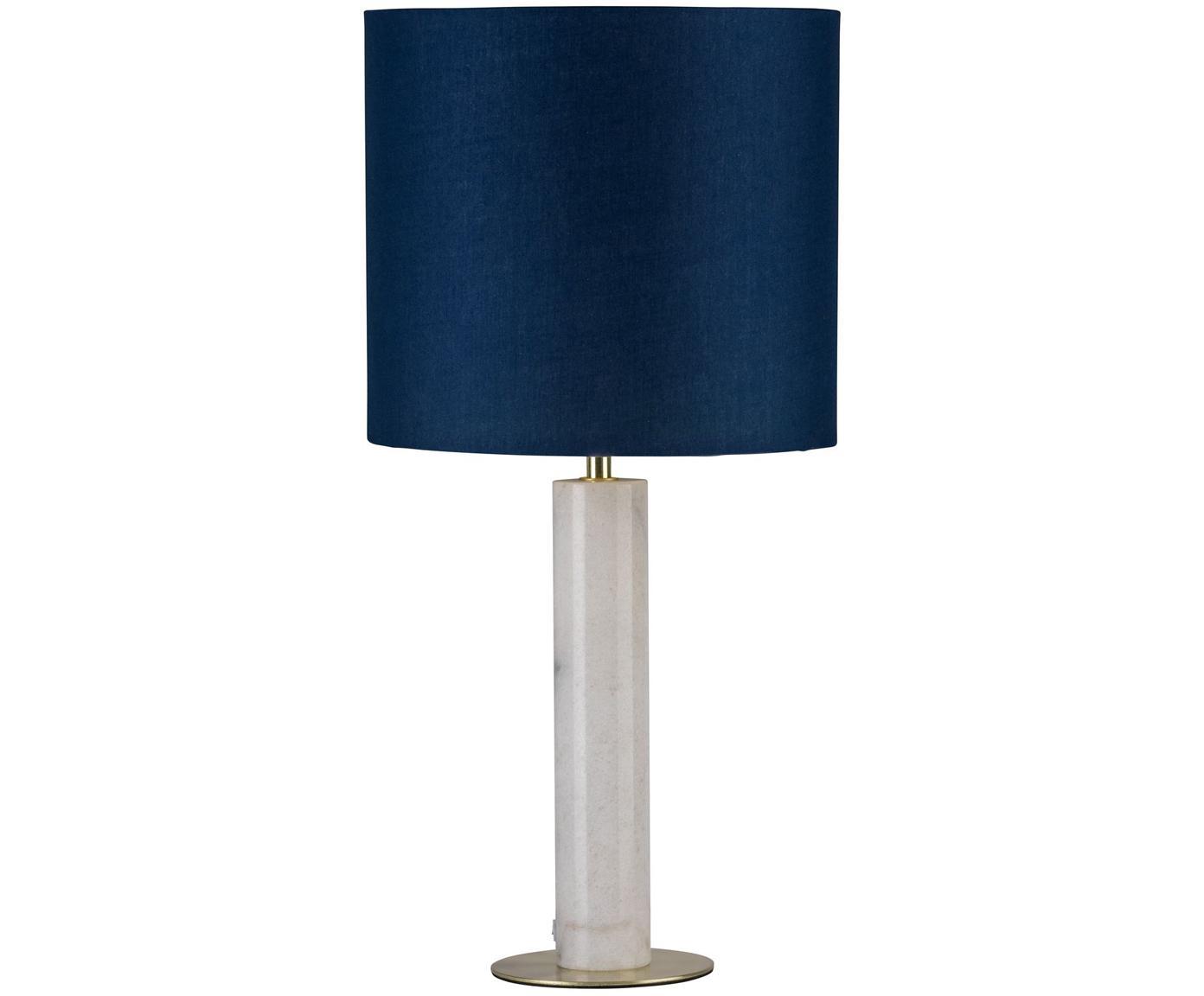 Lampada da tavolo in marmo Olar, Paralume: poliestere, Base della lampada: ottone spazzolato, Blu scuro, bianco, Ø 25 x Alt. 51 cm