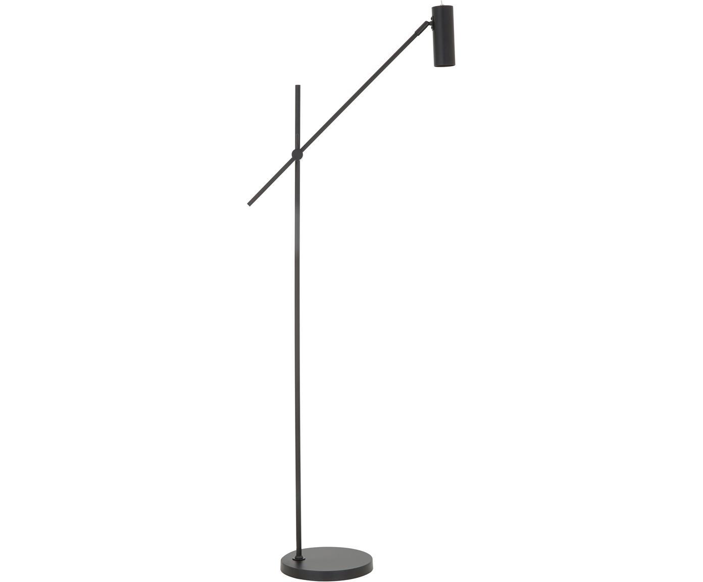 Lámpara de pie Cassandra, Pantalla: metal con pintura en polv, Cable: cubierto en tela, Negro mate, An 75 x Al 152 cm