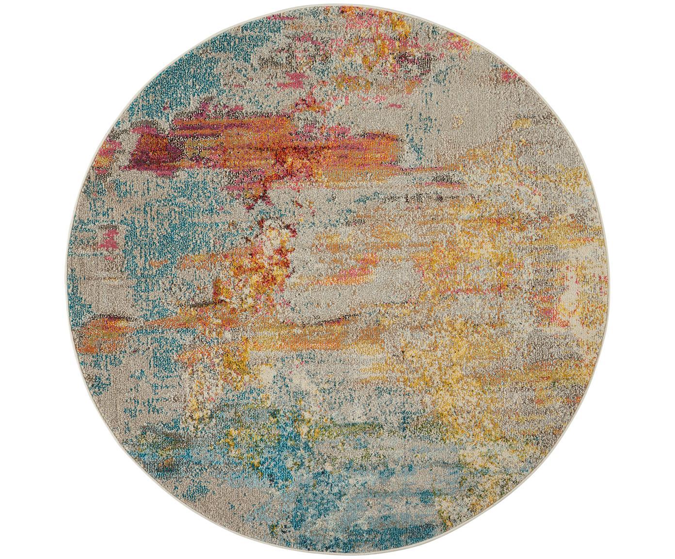Rond design vloerkleed Celestial in kleur, Bovenzijde: polypropyleen, Onderzijde: jute, Multicolour, Ø 160 cm (maat L)