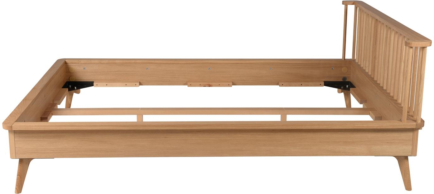 Holzbett Wild, Mitteldichte Holzfaserplatte (MDF) mit Eichenholzfurnier, Eichenholz, 160 x 200 cm