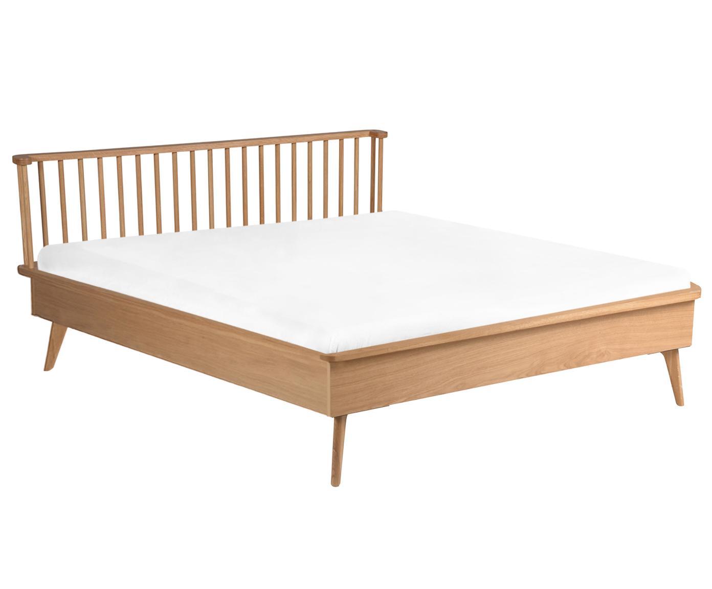 Łóżko z drewna Wild, Płyta pilśniowa (MDF), fornir z drewna dębowego, Drewno dębowe, 140 x 190 cm