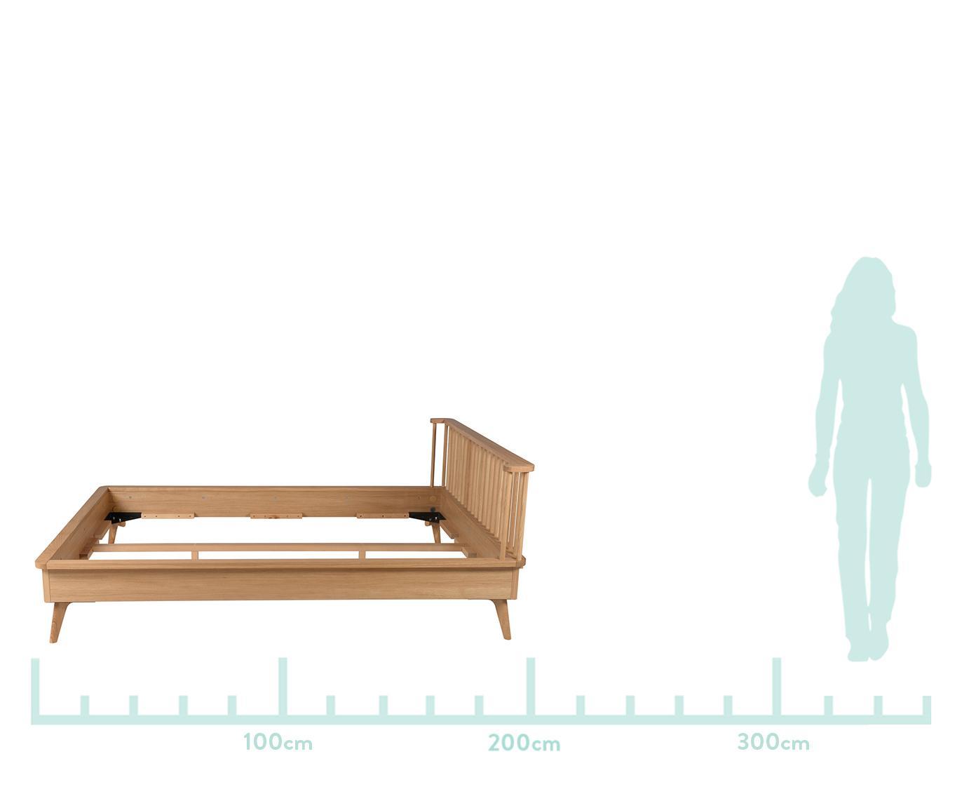 Houten bed Wild, MDF met eikenhoutfineer, Eikenhoutkleurig, 160 x 200 cm