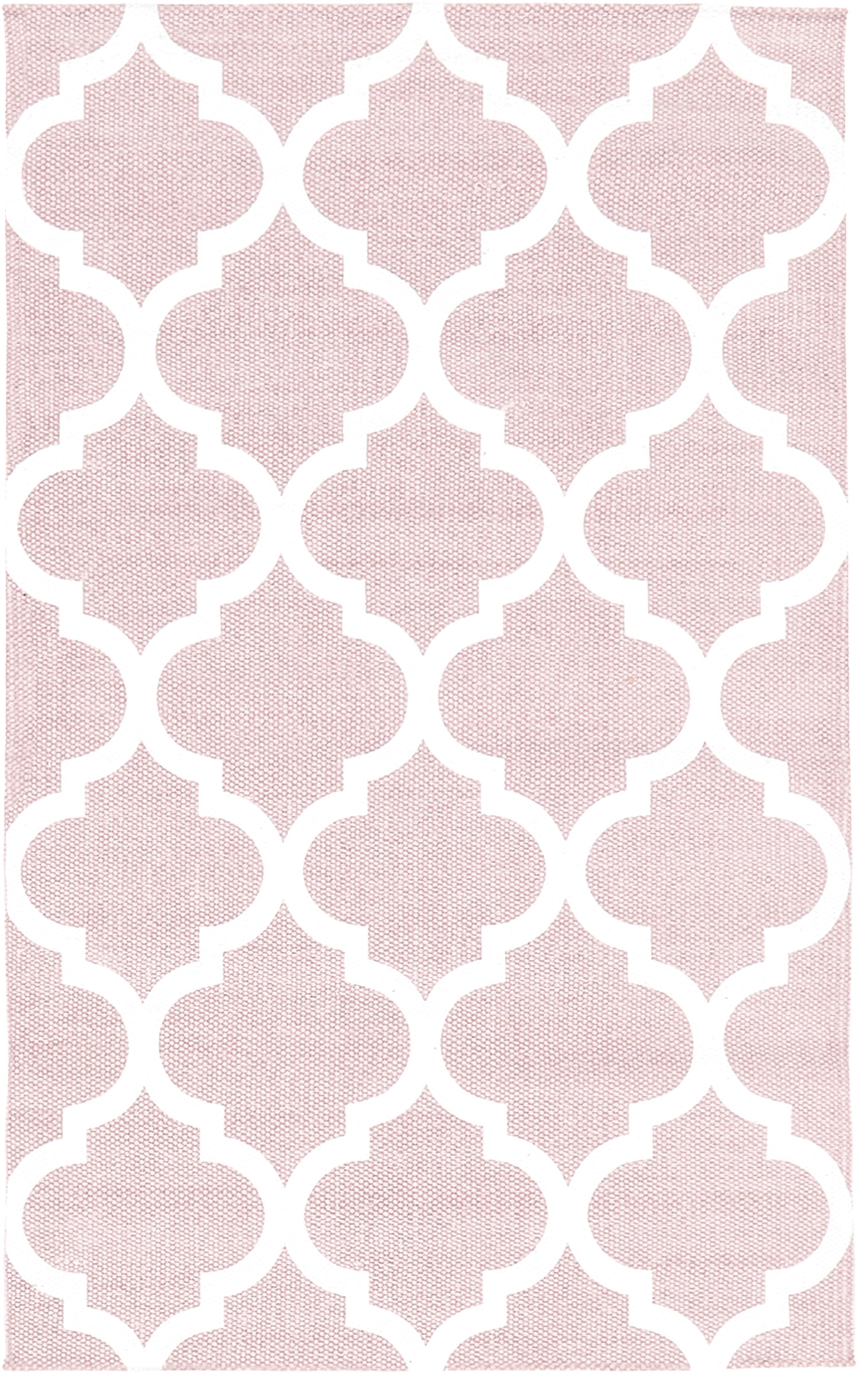 Alfombra de algodón Amira, 100%algodón, Rosa, blanco crema, An 50 x L 80 cm (Tamaño XXS)
