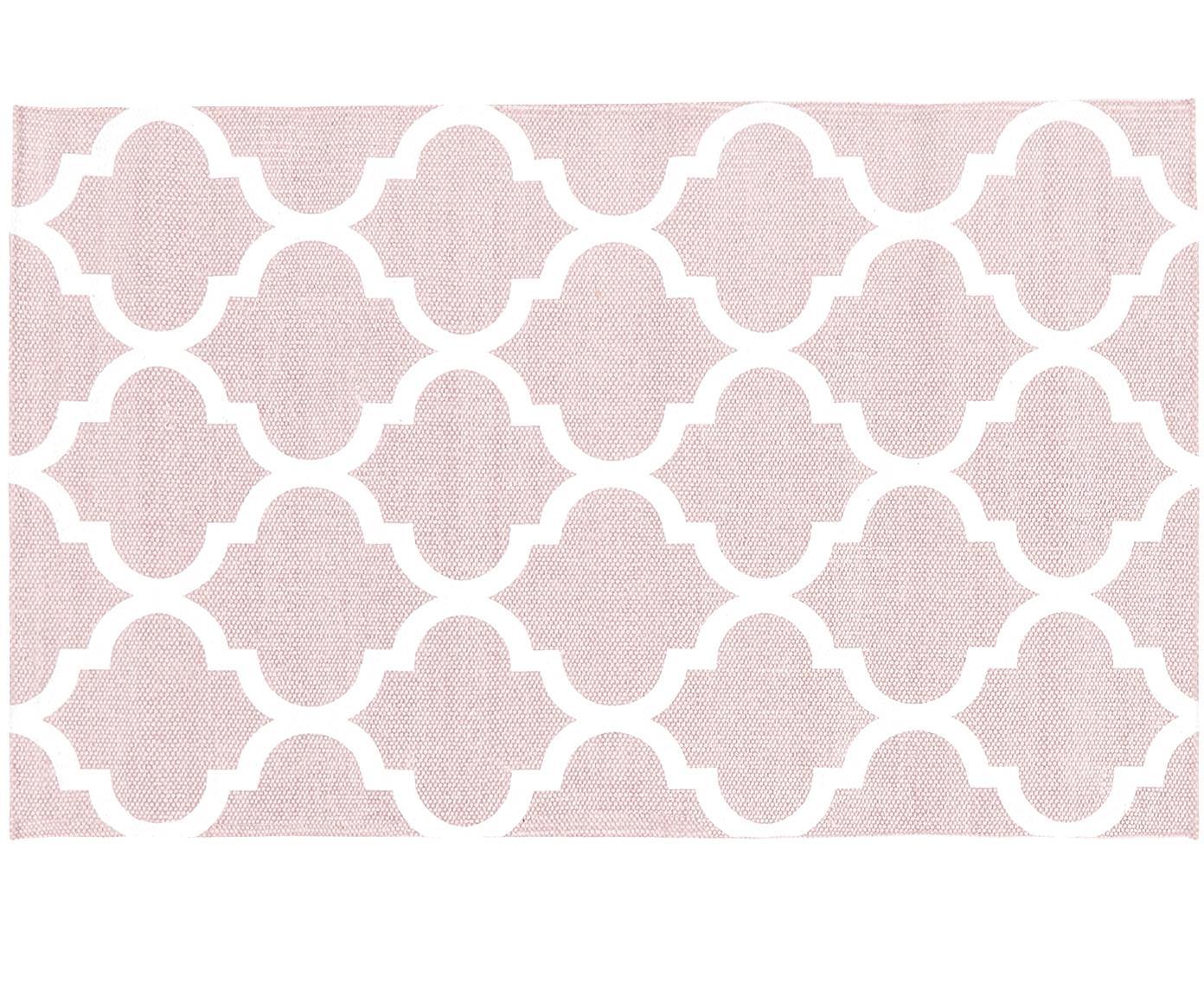 Flachgewebter Baumwollteppich Amira in Rosa/Weiß, 100% Baumwolle, Rosa, Cremeweiß, B 50 x L 80 cm (Größe XXS)