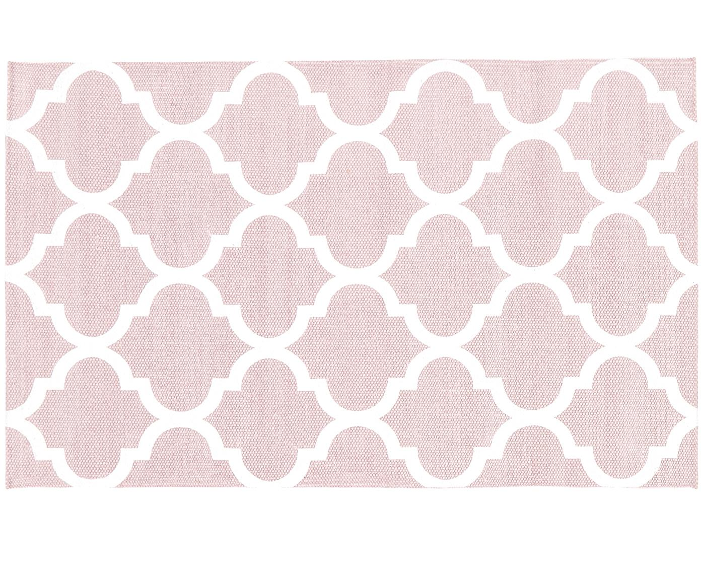 Handgeweven katoenen vloerkleed Amira in roze/wit, Katoen, Roze, crèmewit, B 50 x L 80 cm (maat XXS)