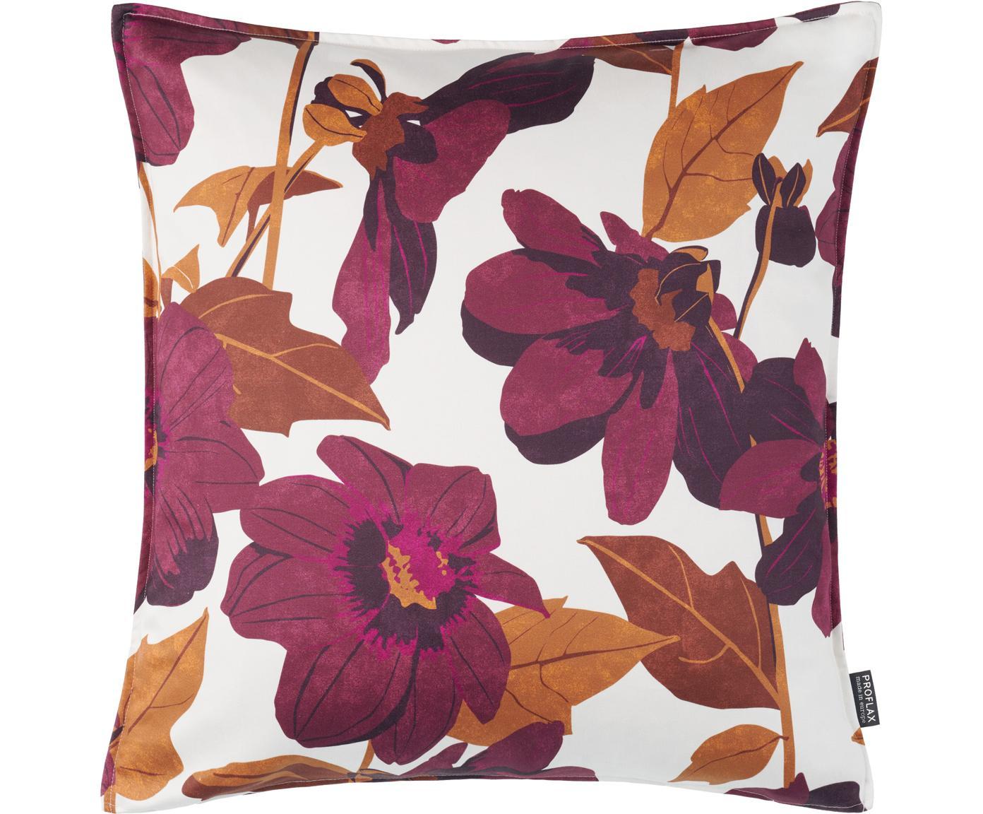 Copricuscino con stampa floreale Maite, Cotone, Bianco, lilla, arancione, Larg. 50 x Lung. 50 cm