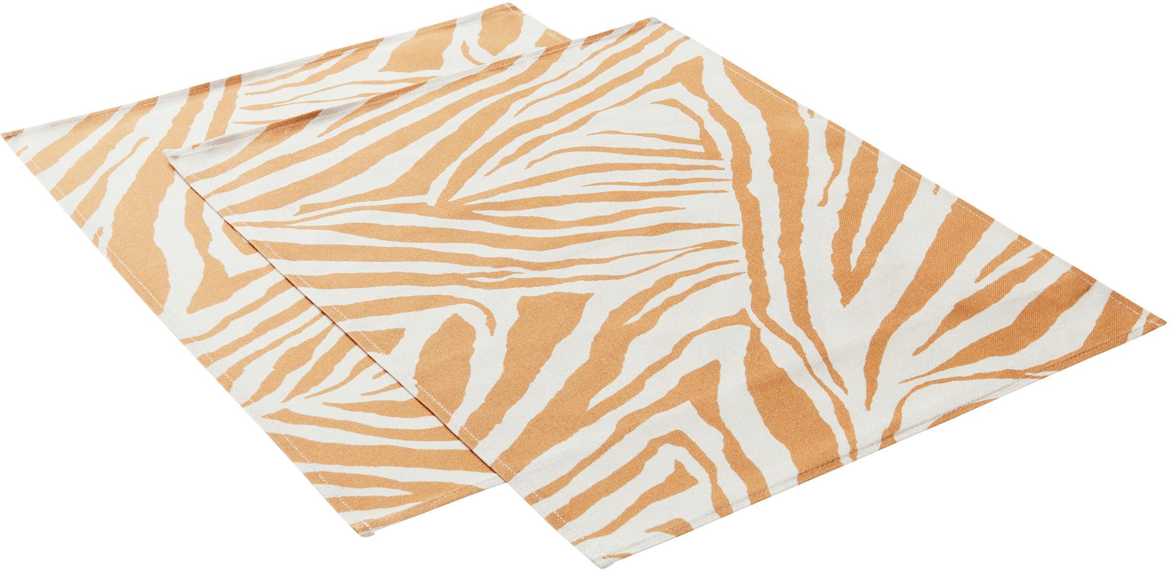 Manteles individuales Zadie, 2uds., 100%algodón de cultivos sostenible de algodón, Mostaza, blanco crema, An 35 x L 45 cm