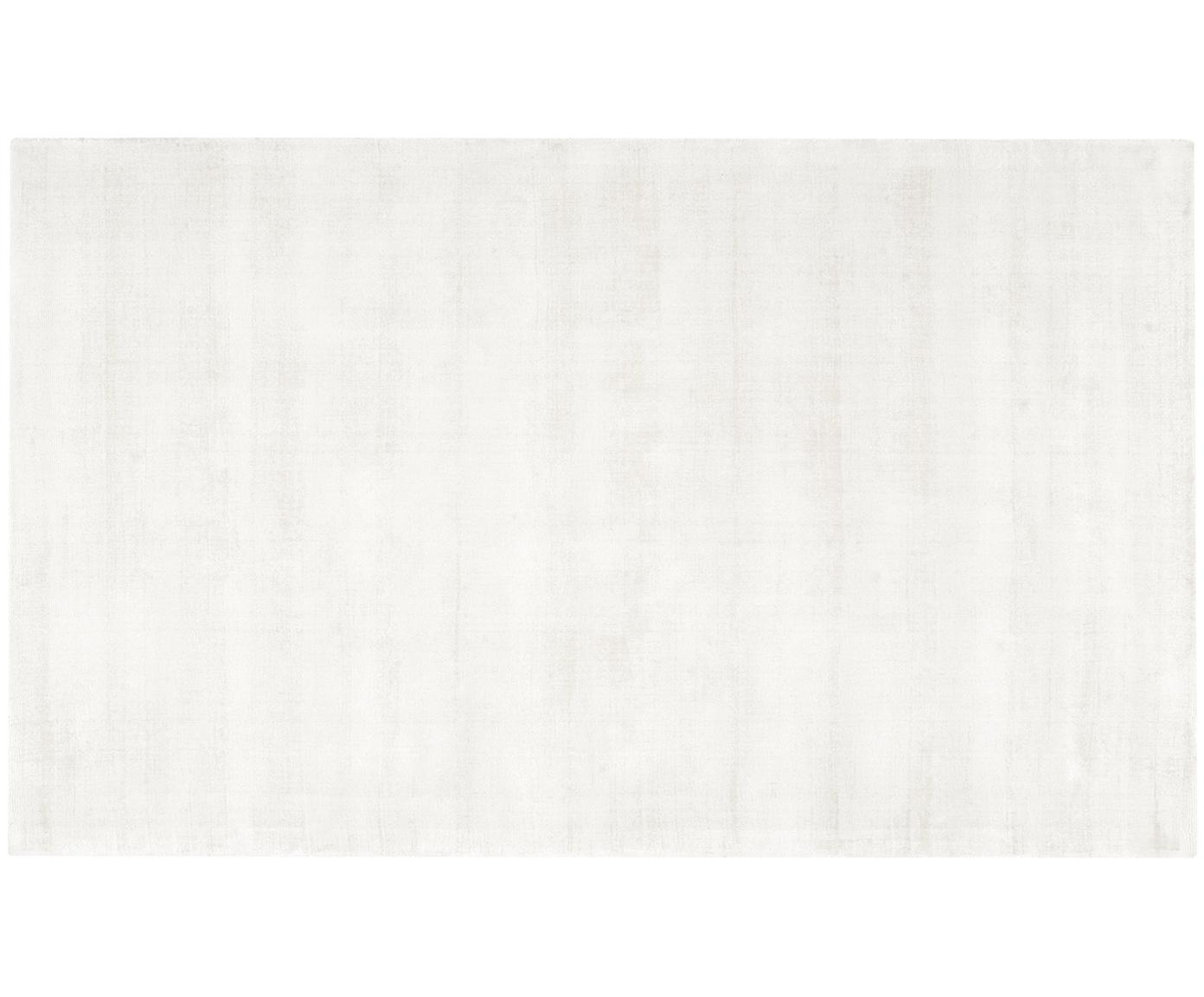 Handgeweven viscose vloerkleed Jane, Bovenzijde: 100% viscose, Onderzijde: 100% katoen, Ivoorkleurig, 90 x 150 cm