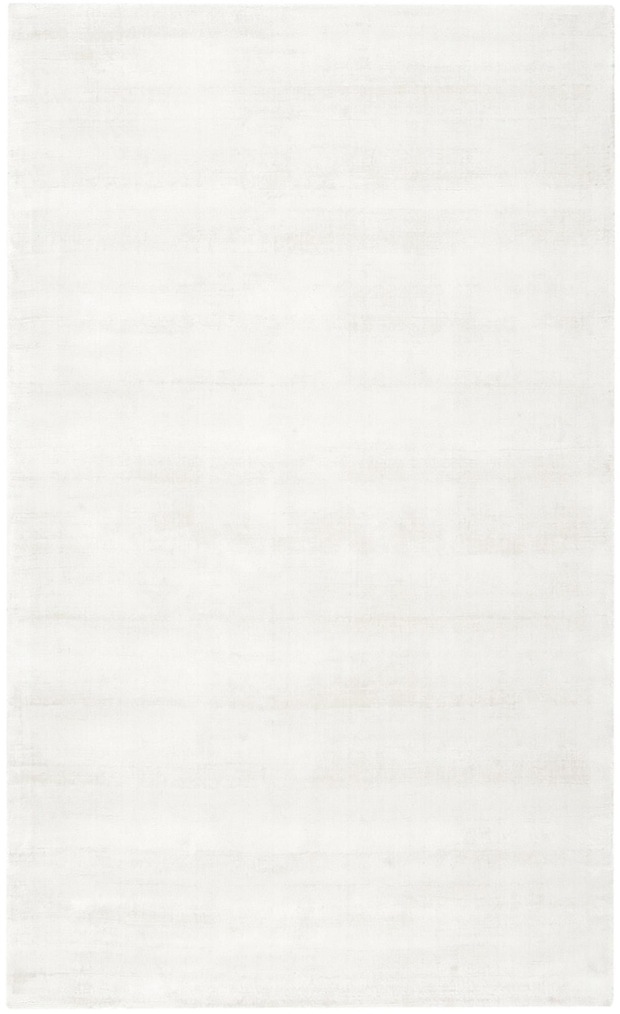 Handgeweven viscose vloerkleed Jane in ivoorkleur, Bovenzijde: 100% viscose, Onderzijde: 100% katoen, Ivoorkleurig, 90 x 150 cm