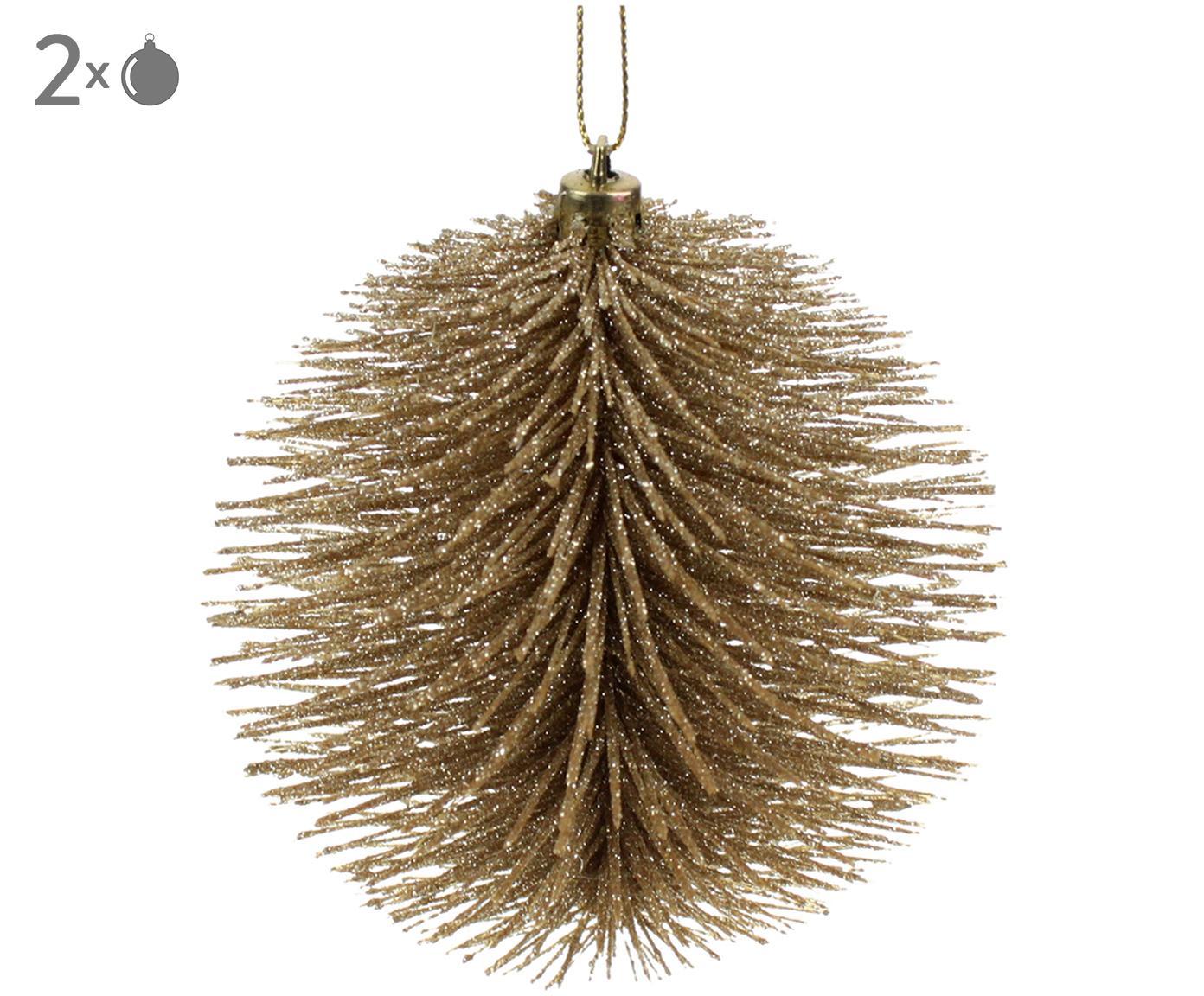 Set palline di Natale dorate Wipers 2 pz, Materiale sintetico, filo metallico, Champagne, Ø 10 cm