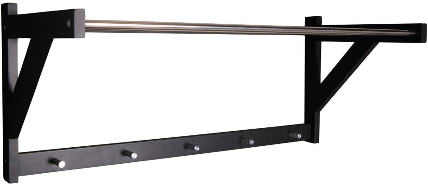 Wieszak ścienny Półka ścienna z metalu i drewna Padova, Drewno topoli, stal, Czarny, stal, S 78 x W 34 cm