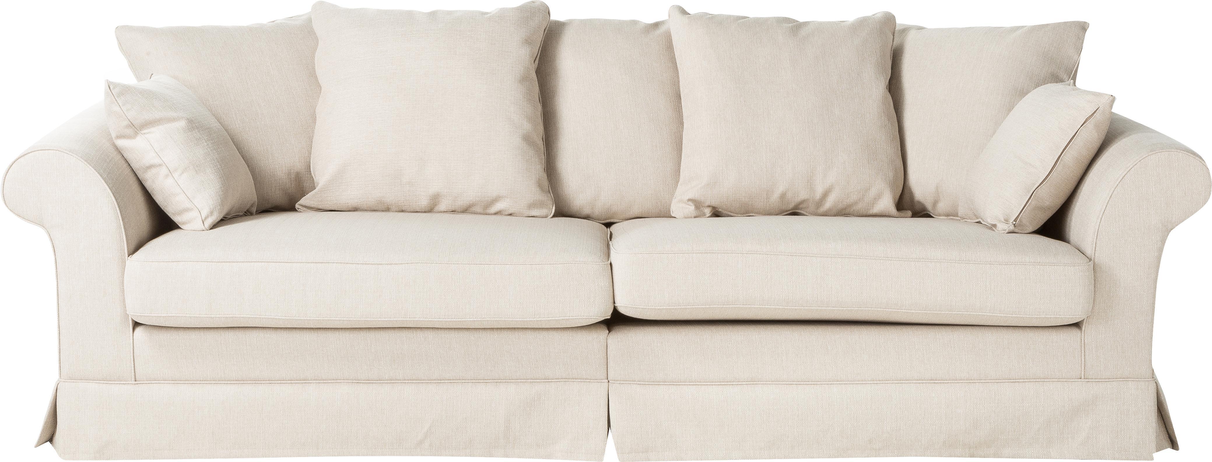 Hussen-Sofa Nobis, Bezug: Polyester, Webstoff Creme, B 264 x T 111 cm