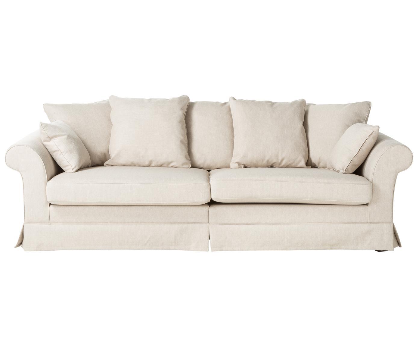Hussen-Sofa Nobis, Bezug: Polyester, Webstoff Creme, B 264 cm