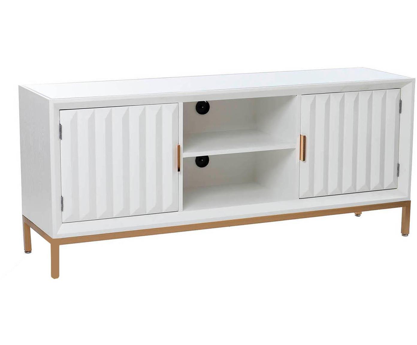 Mueble TV Ben, Blanco, dorado, An 150 x Al 64 cm