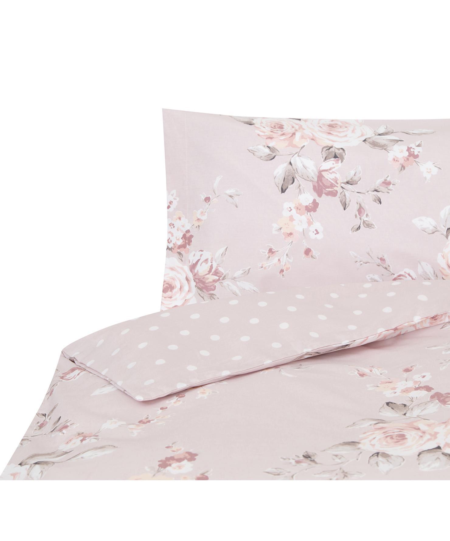 Funda nórdica Canterbury, Algodón, Tonos rosas, gris, blanco, Cama 90 cm (160 x 220 cm)