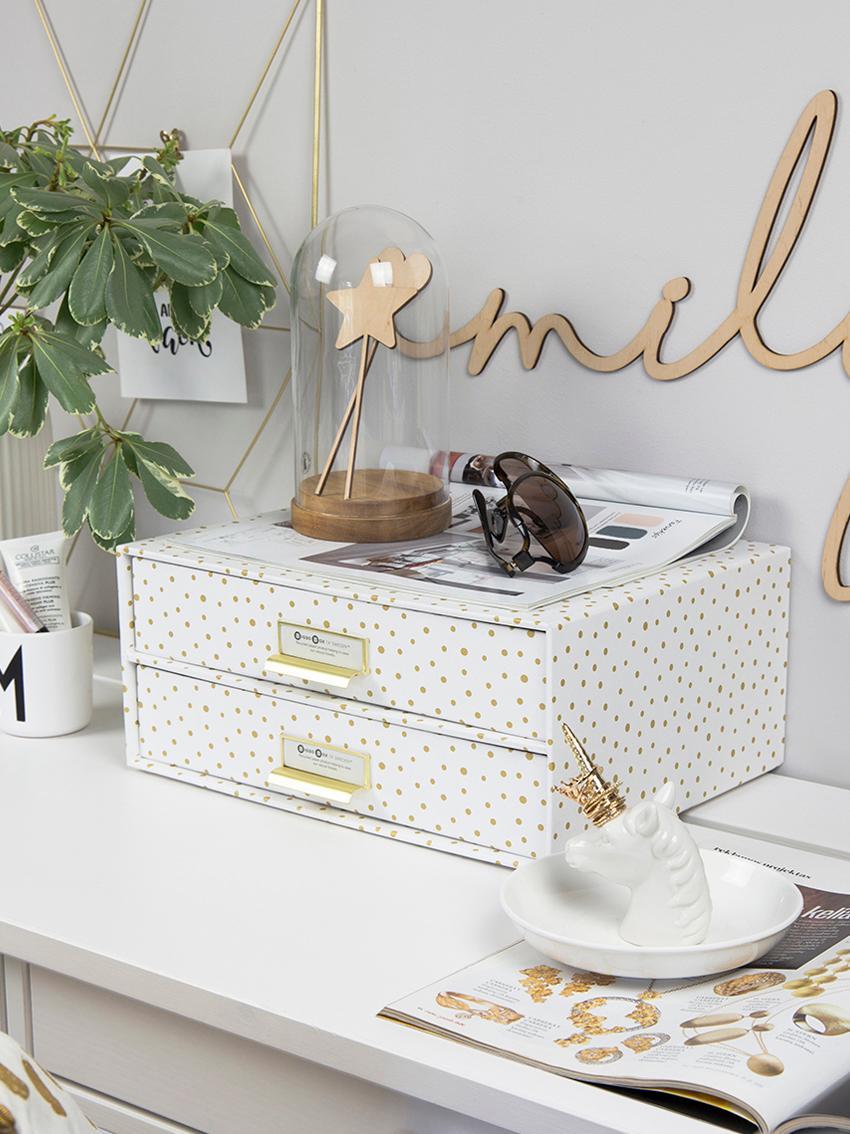 Büro-Organizer Birger, Organizer: Fester, laminierter Karto, Weiß, Goldfarben, 33 x 15 cm