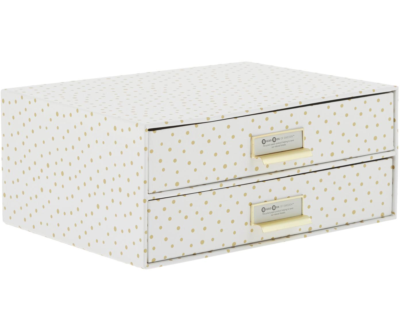 Organizador de escritorio Birger, Organizador: cartón laminado, Blanco, dorado, An 33 x Al 15 cm