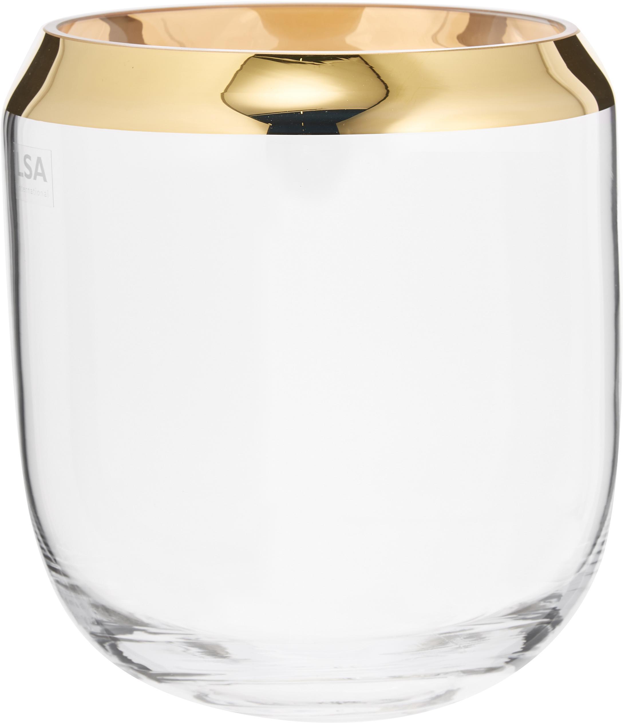 Mondgeblazen vaas Space, Glas, Transparant, goudkleurig, Ø 18 x H 20 cm