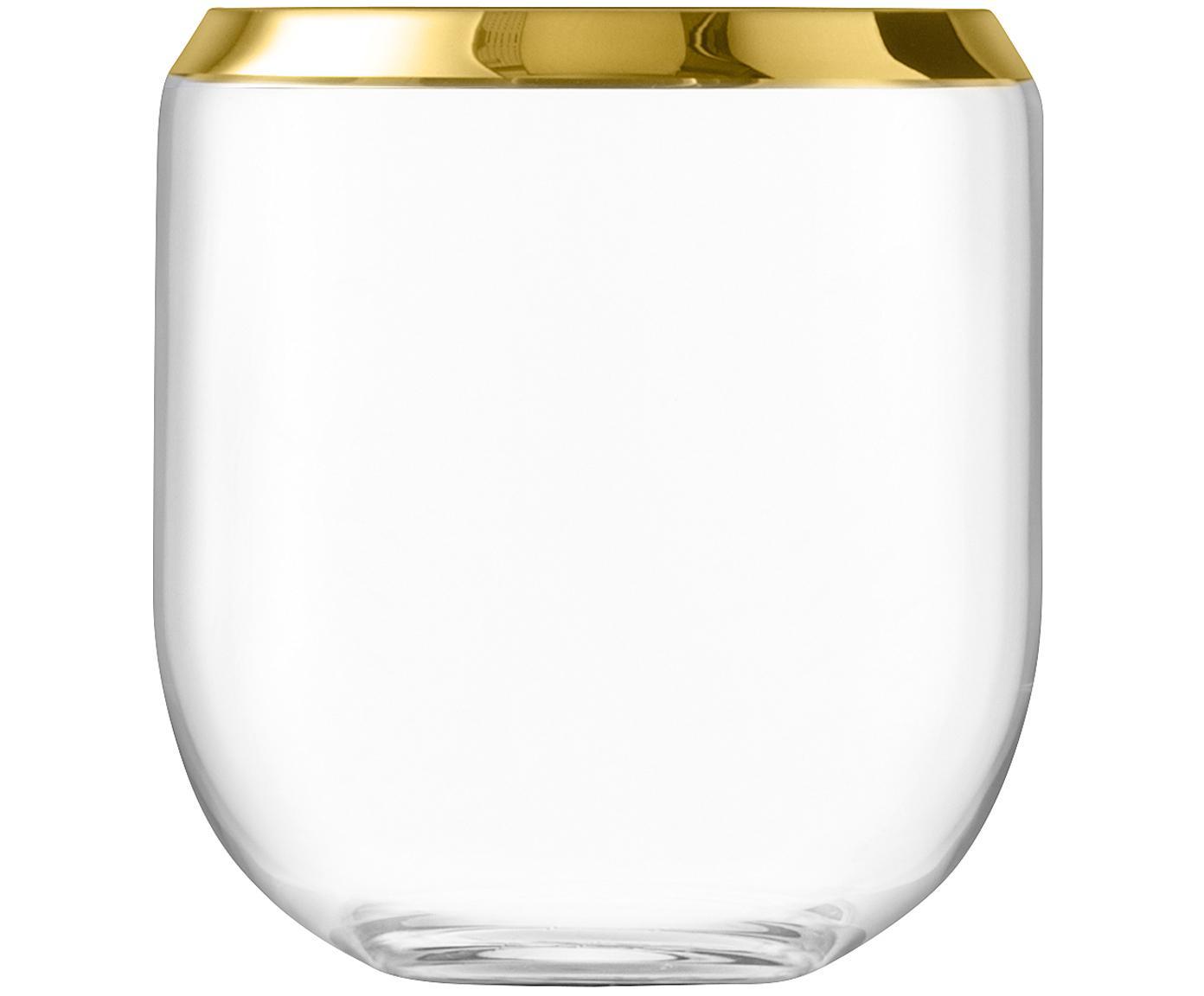 Jarrón de vidrio soplado Space, Vidrio, Transparente, dorado, Ø 18 x Al 20 cm