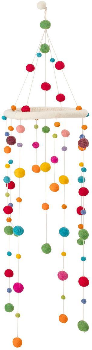 Móvil bebé Dots, Estructura: madera, Multicolor, Ø 24 x Al 95 cm