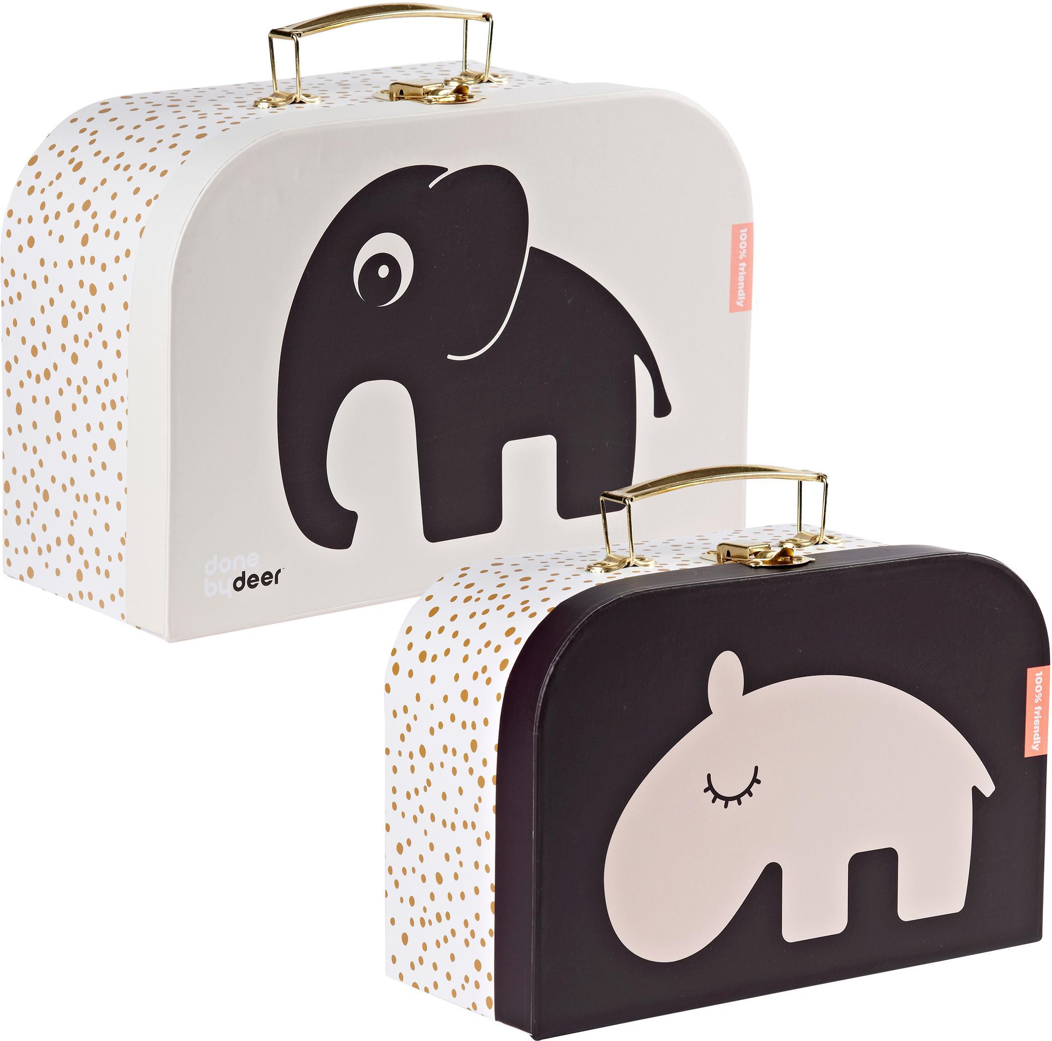 Set 2 valigie per bambini Deer Friends, Custodia: cartone laminato, Manico: metallo rivestito, Rosa, Set in varie misure