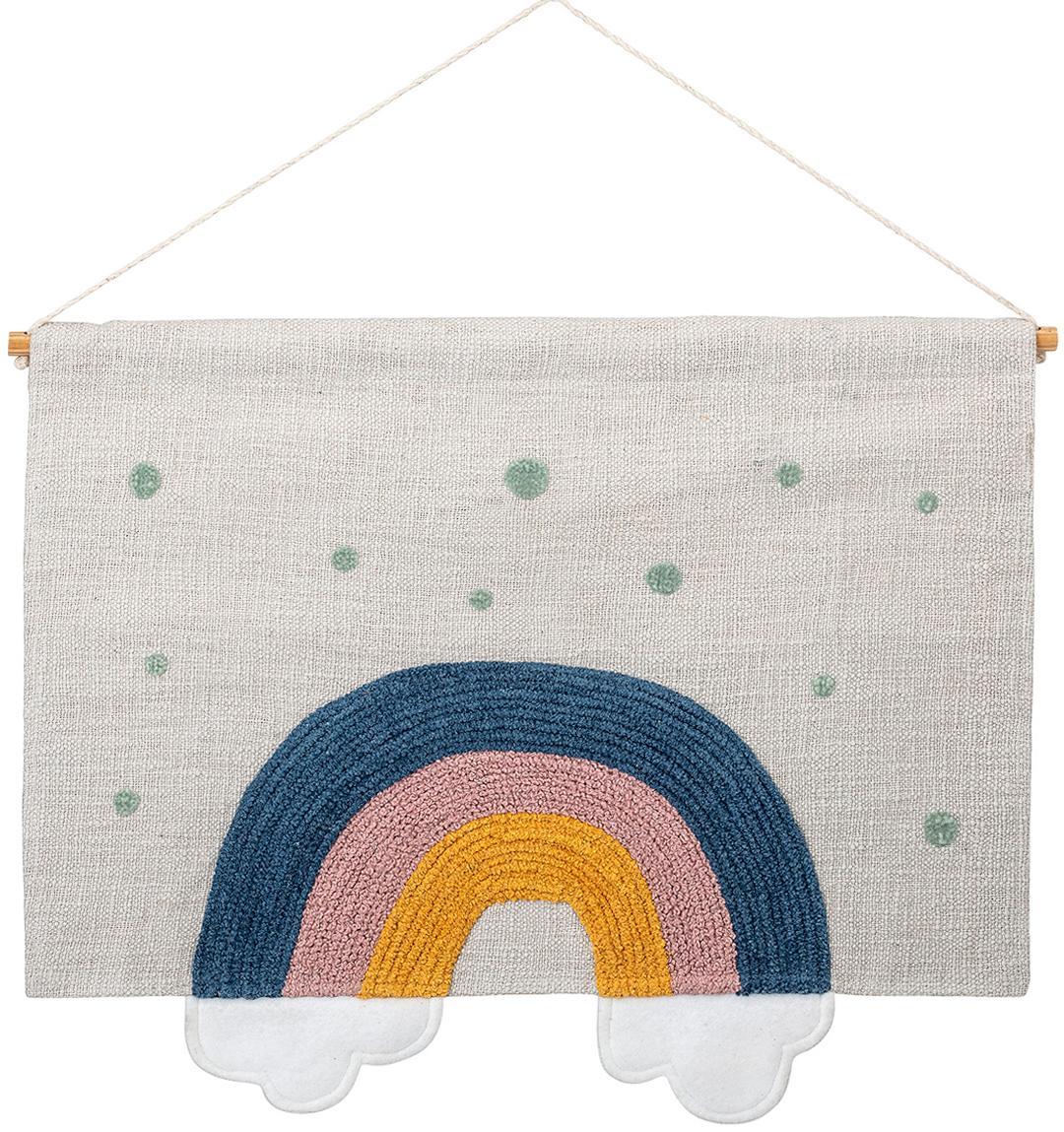 Großes Wandobjekt Rainbow, Baumwolle, Weiß, Blau, Gelb, Grün, 60 x 49 cm